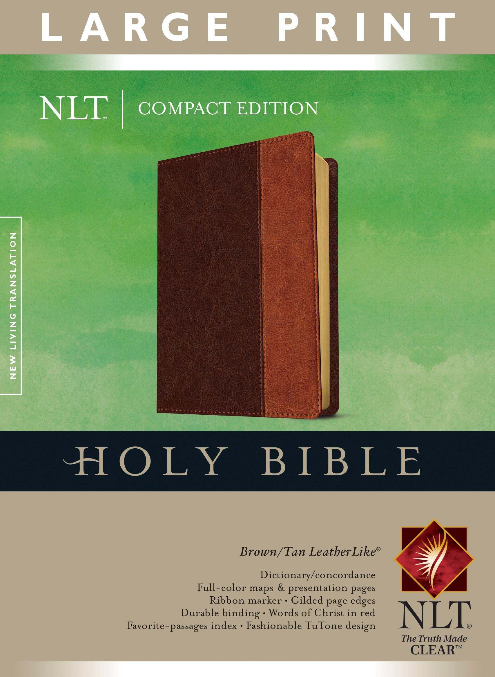NLT Compact Edition Bible/Large Print-Brown/Tan TuTone