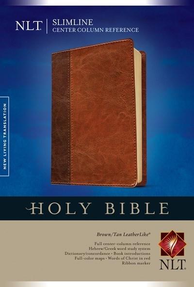 NLT Slimline Center Column Reference Bible-Brown/Tan TuTone