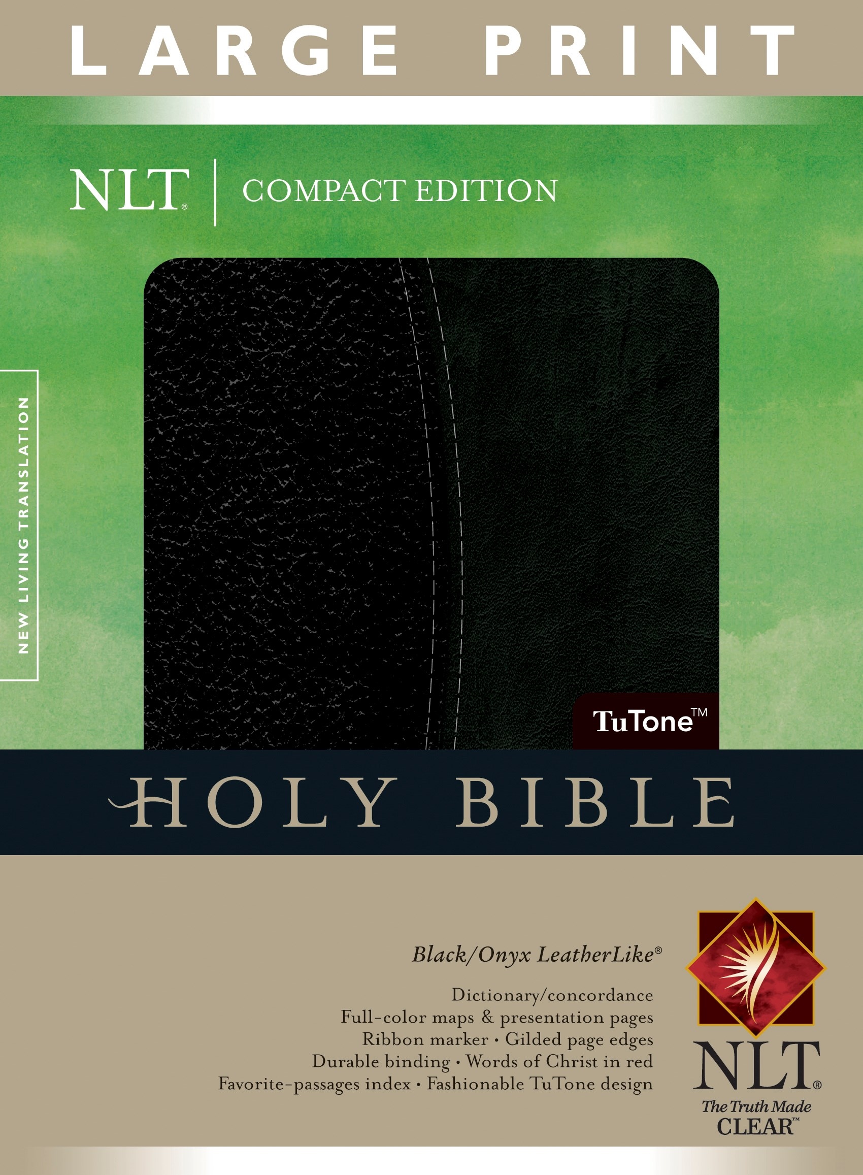NLT Compact Edition Bible/Large Print-Black/Onyx TuTone