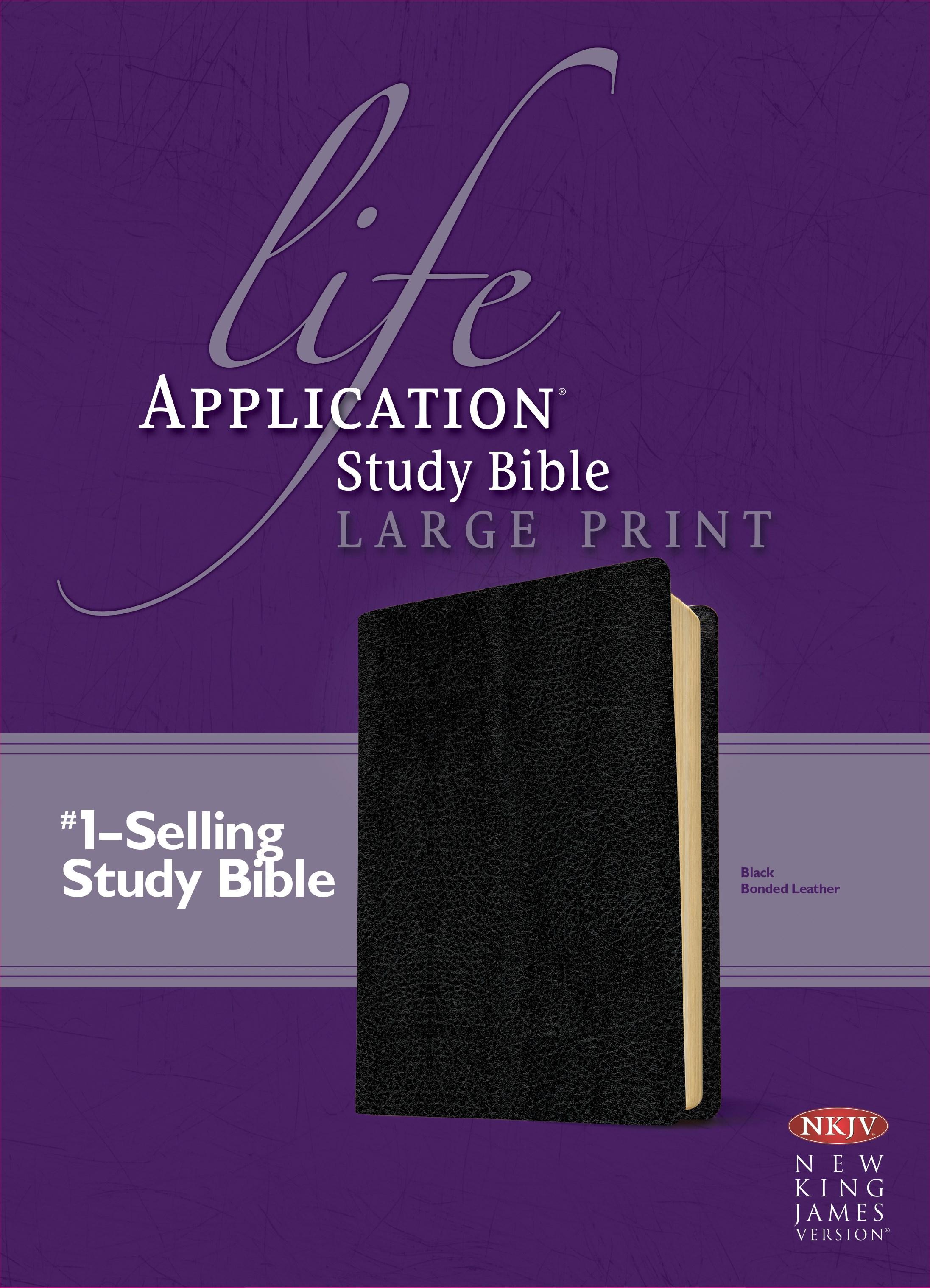 NKJV Life Application Study Bible/Large Print-Black Bonded Leather