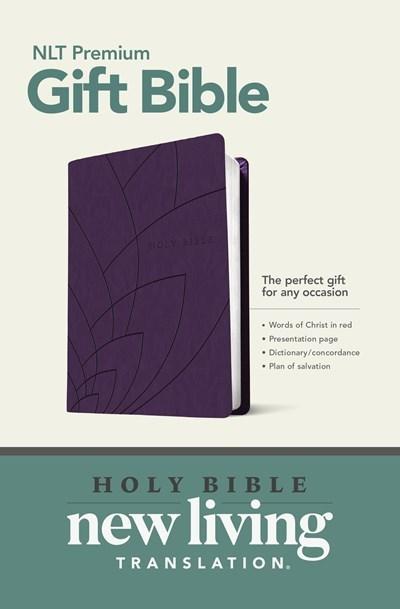 NLT Premium Gift Bible-Purple Petals LeatherLike