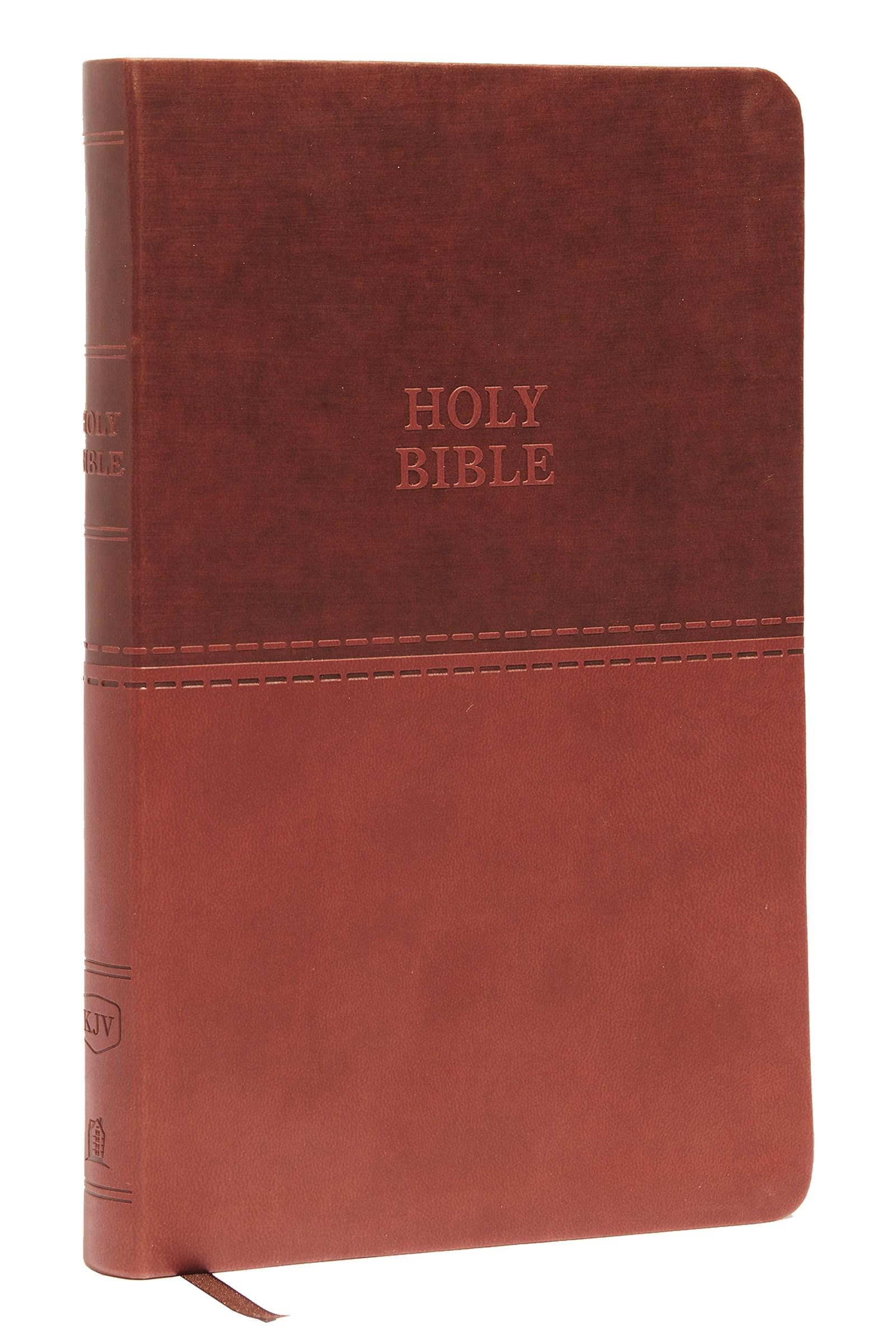 KJV Value Thinline Bible (Comfort Print)-Brown Leathersoft