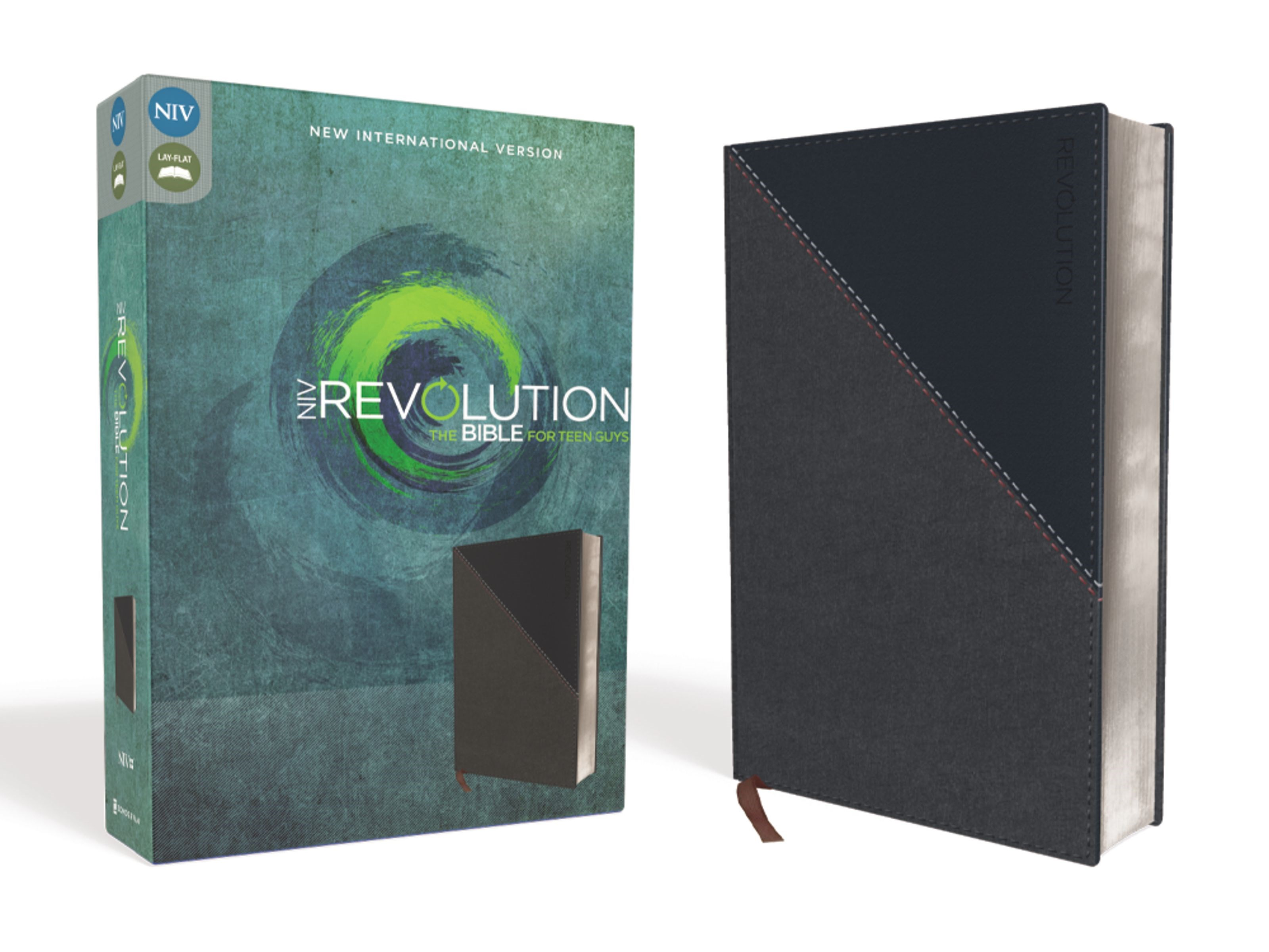 NIV Revolution Bible For Teen Guys-Charcoal/Navy Leathersoft