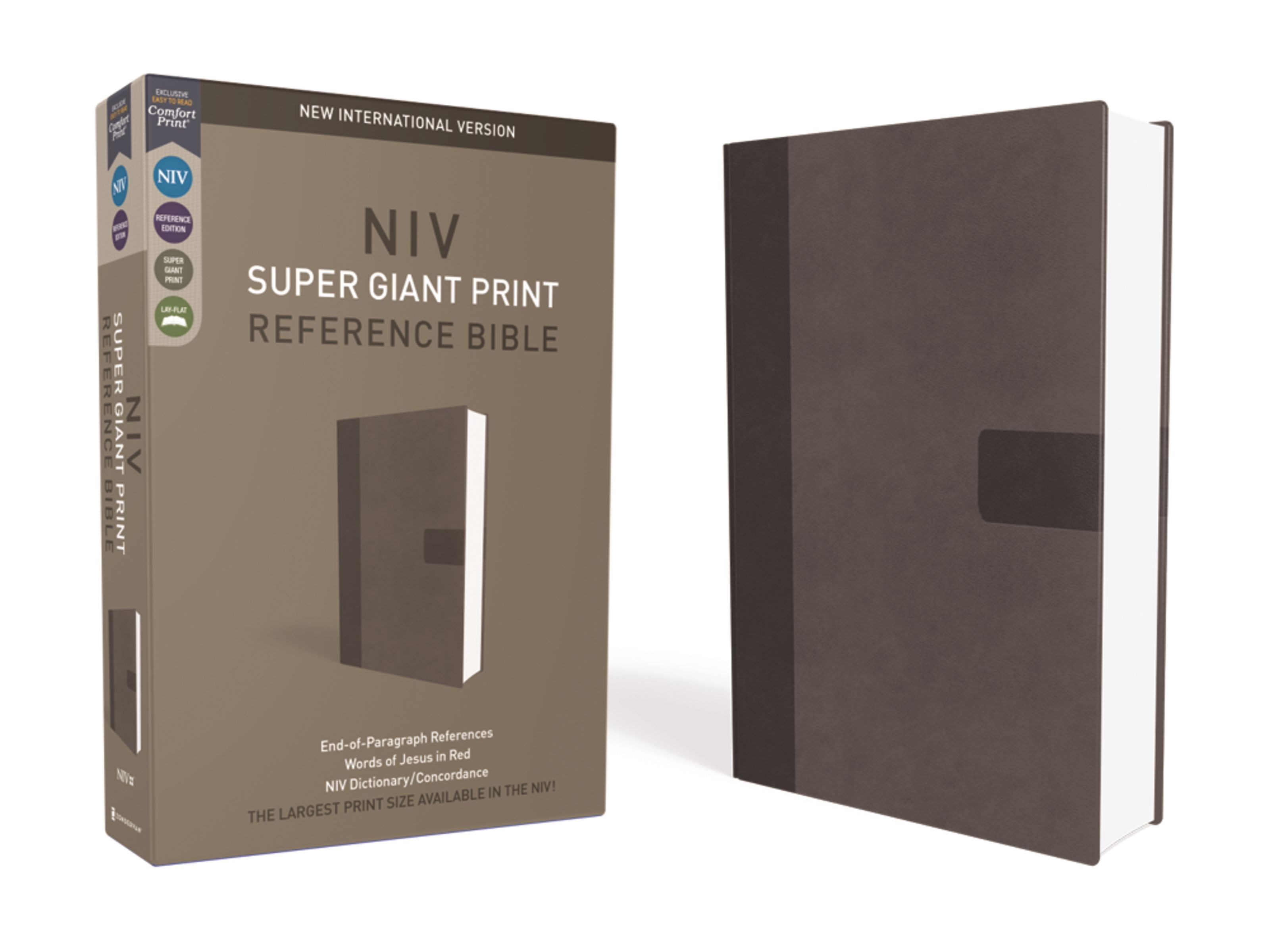 NIV Super Giant Print Reference Bible-Charcoal Leathersoft