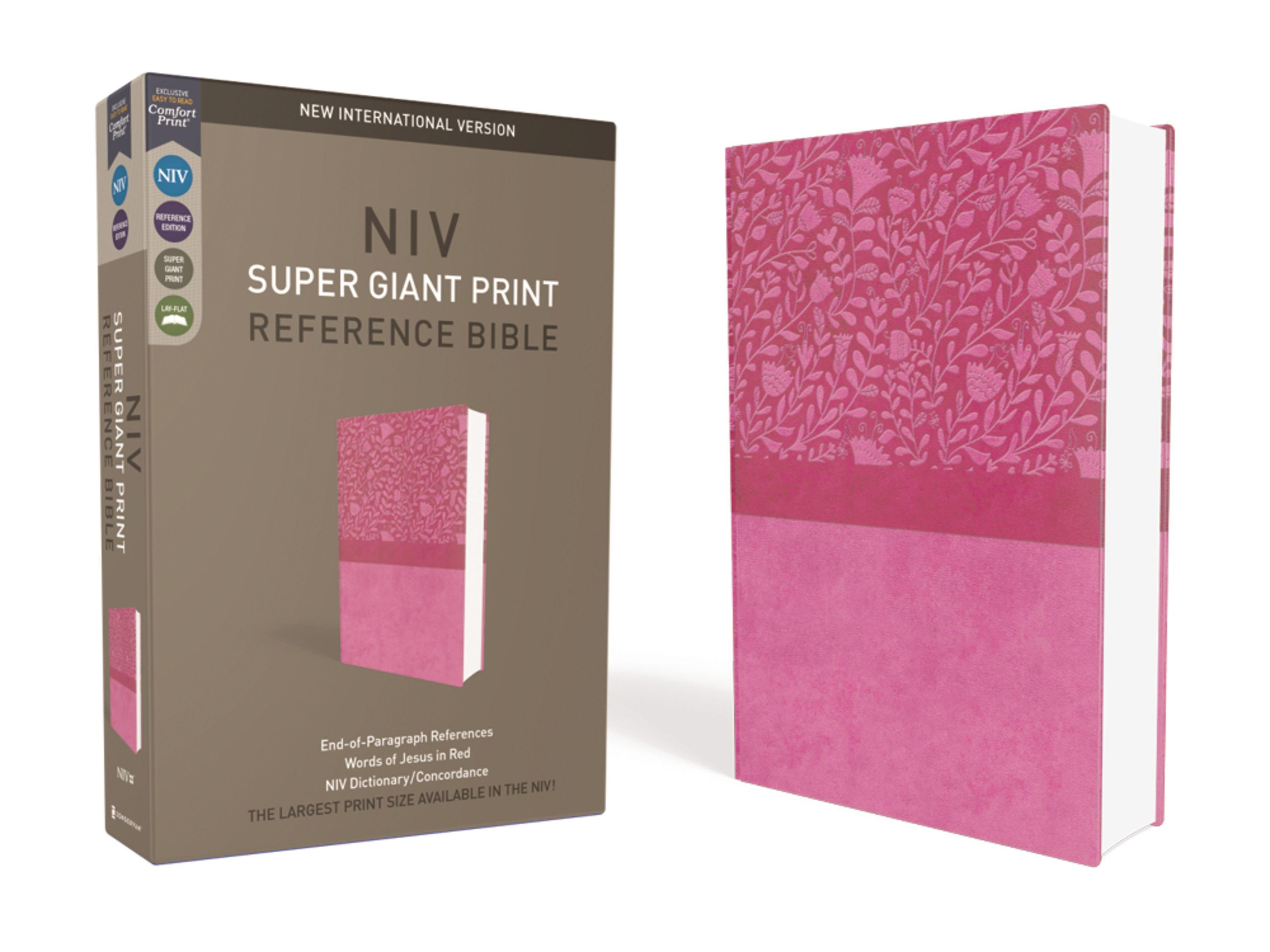NIV Super Giant Print Reference Bible-Cranberry Leathersoft