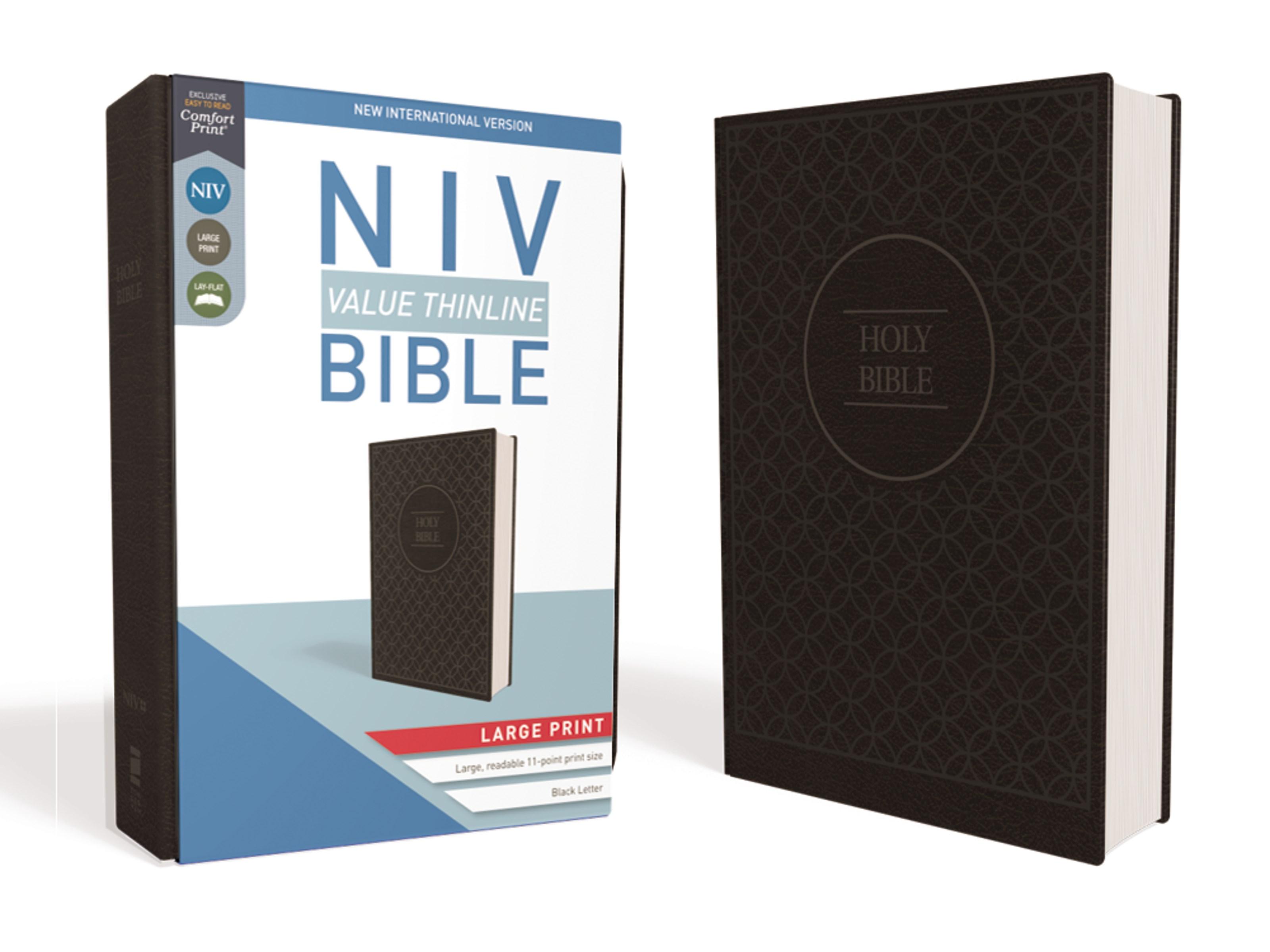 NIV Value Thinline Bible/Large Print (Comfort Print)-Charcoal/Black Leathersoft