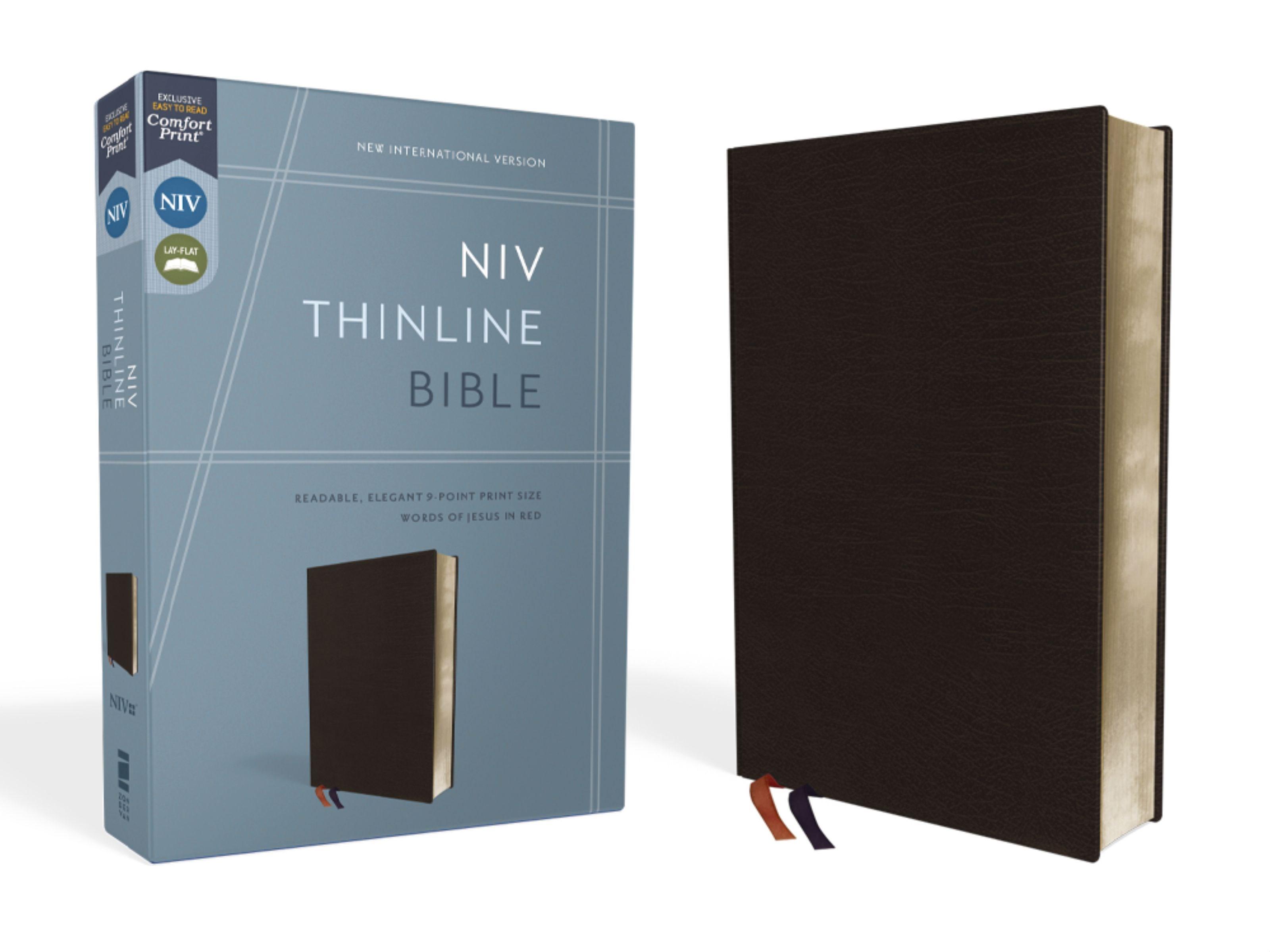NIV Thinline Bible (Comfort Print)-Black Bonded Leather