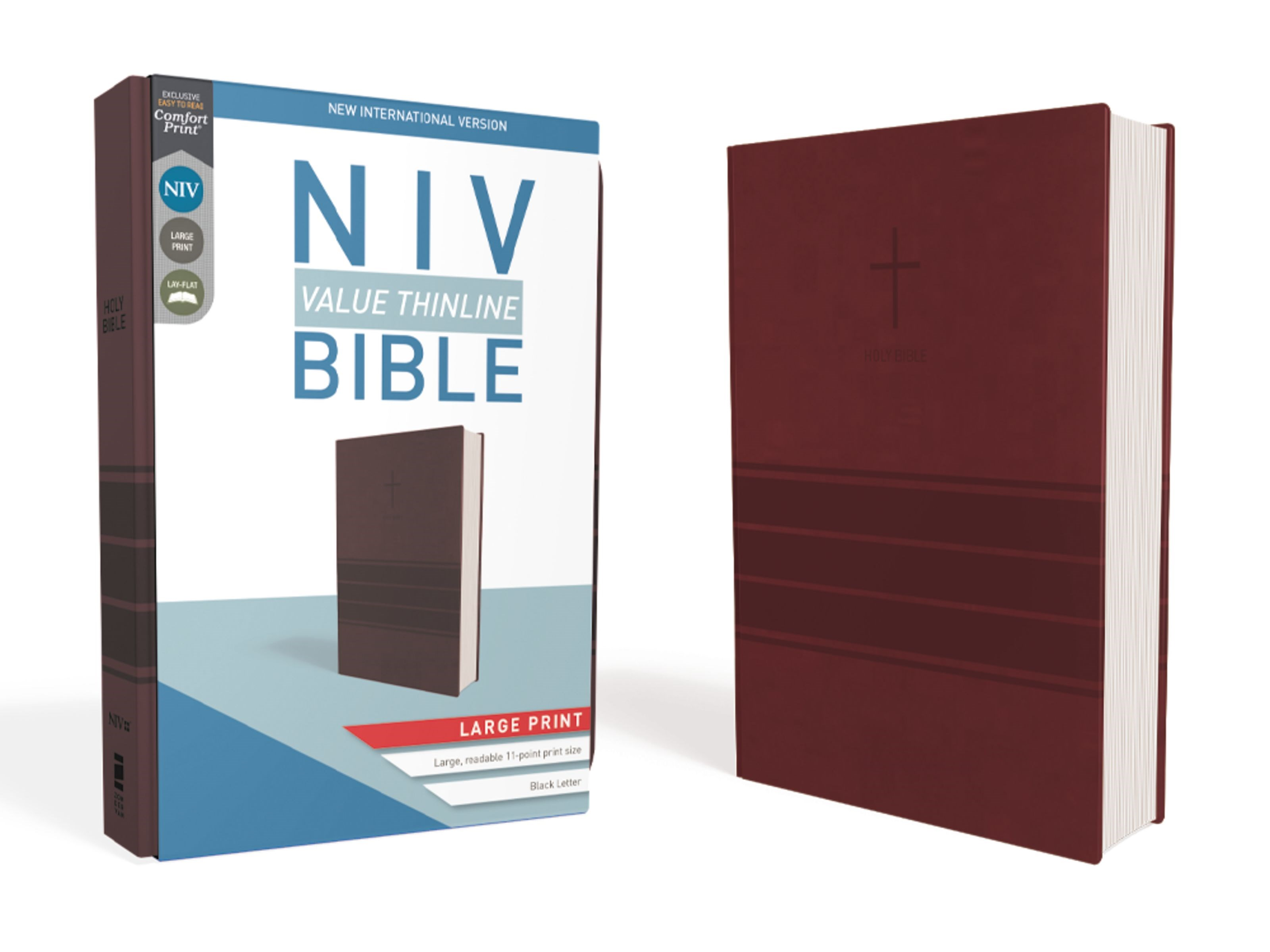 NIV Value Thinline Bible/Large Print (Comfort Print)-Burgundy Leathersoft