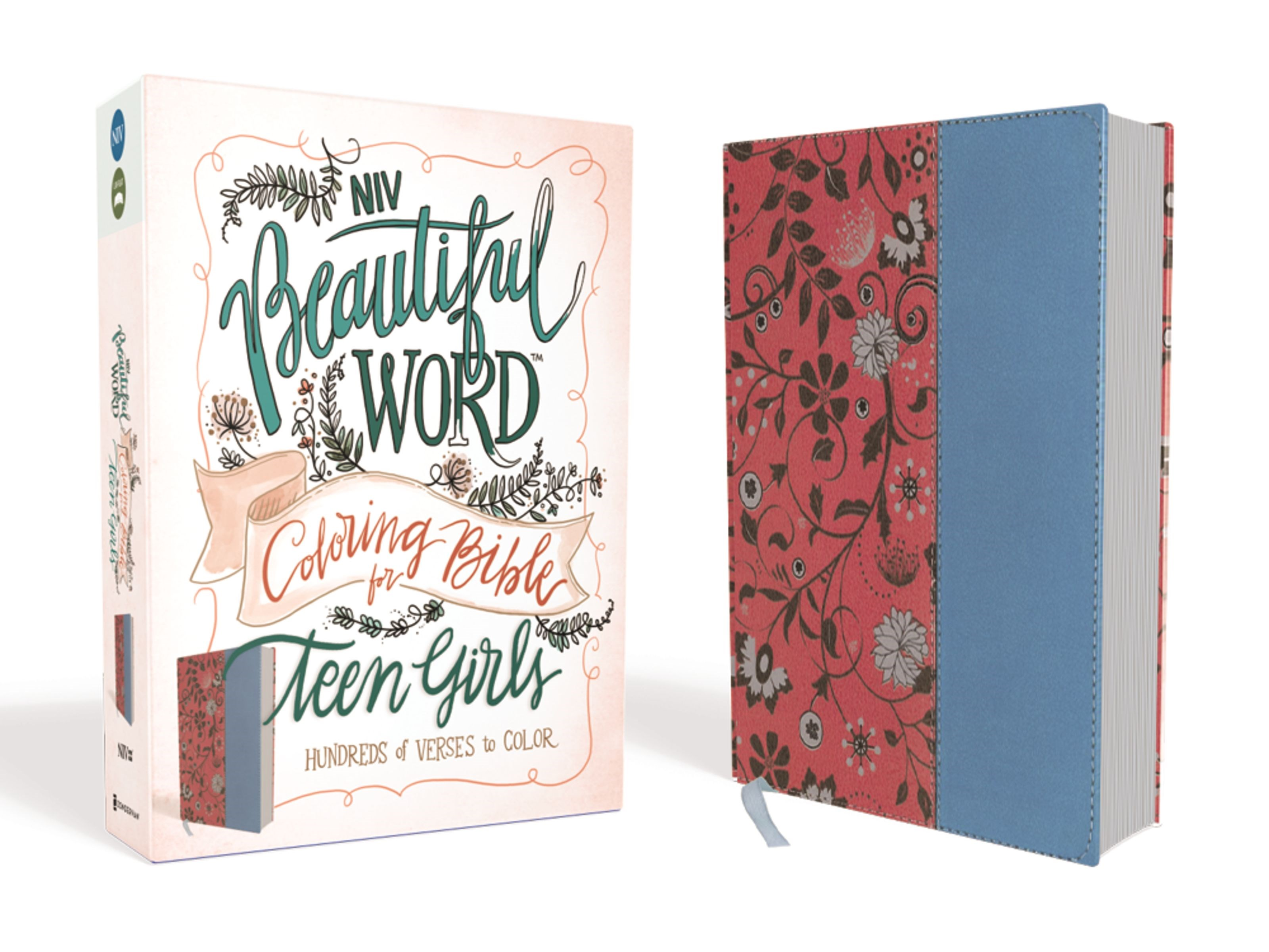 NIV Beautiful Word Coloring Bible For Teen Girls-Cranberry/Blue Leathersoft