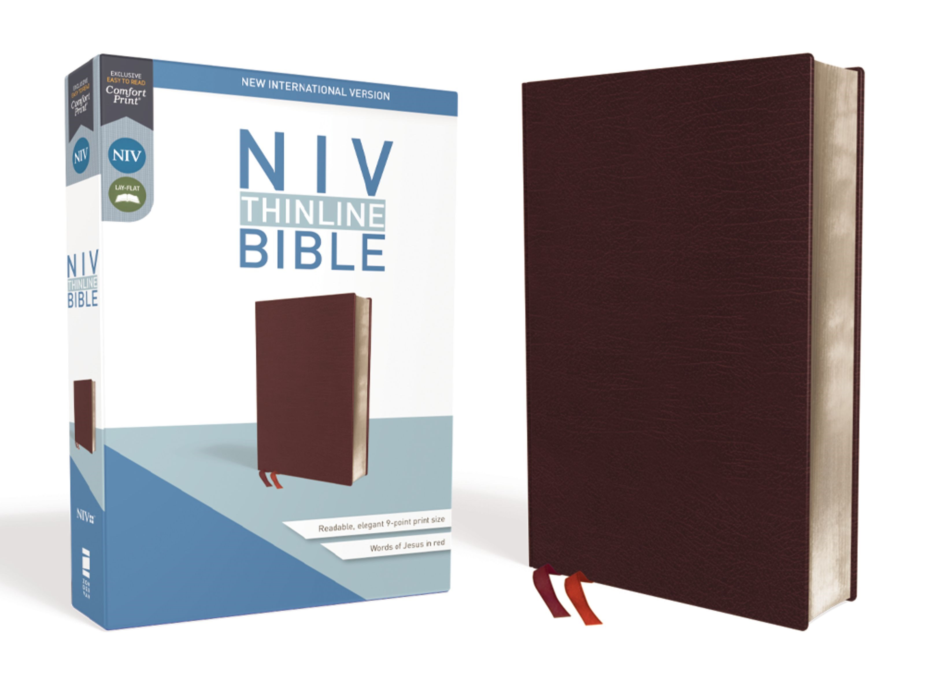 NIV Thinline Bible (Comfort Print)-Burgundy Bonded Leather
