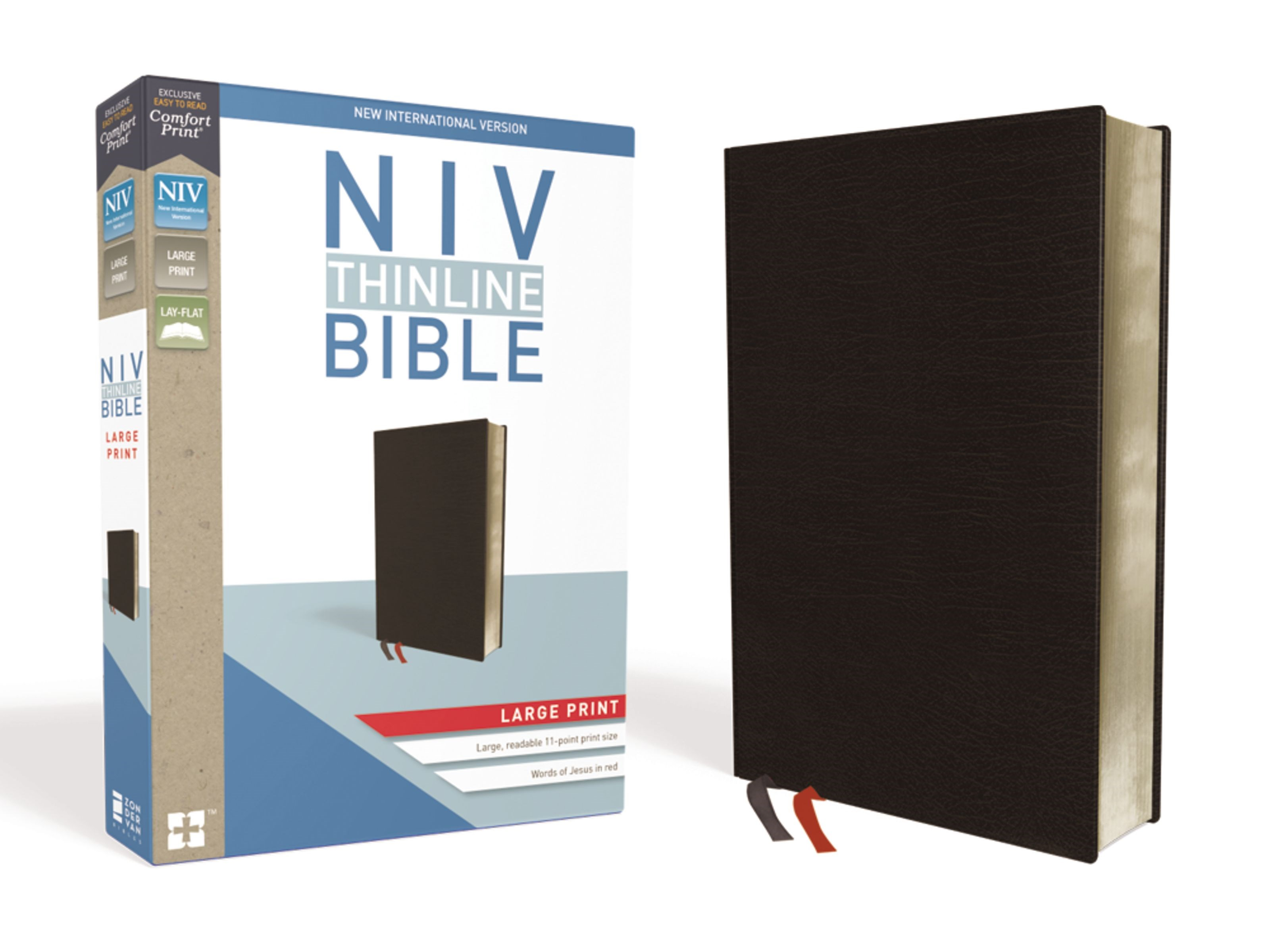 NIV Thinline Bible/Large Print (Comfort Print)-Black Bonded Leather
