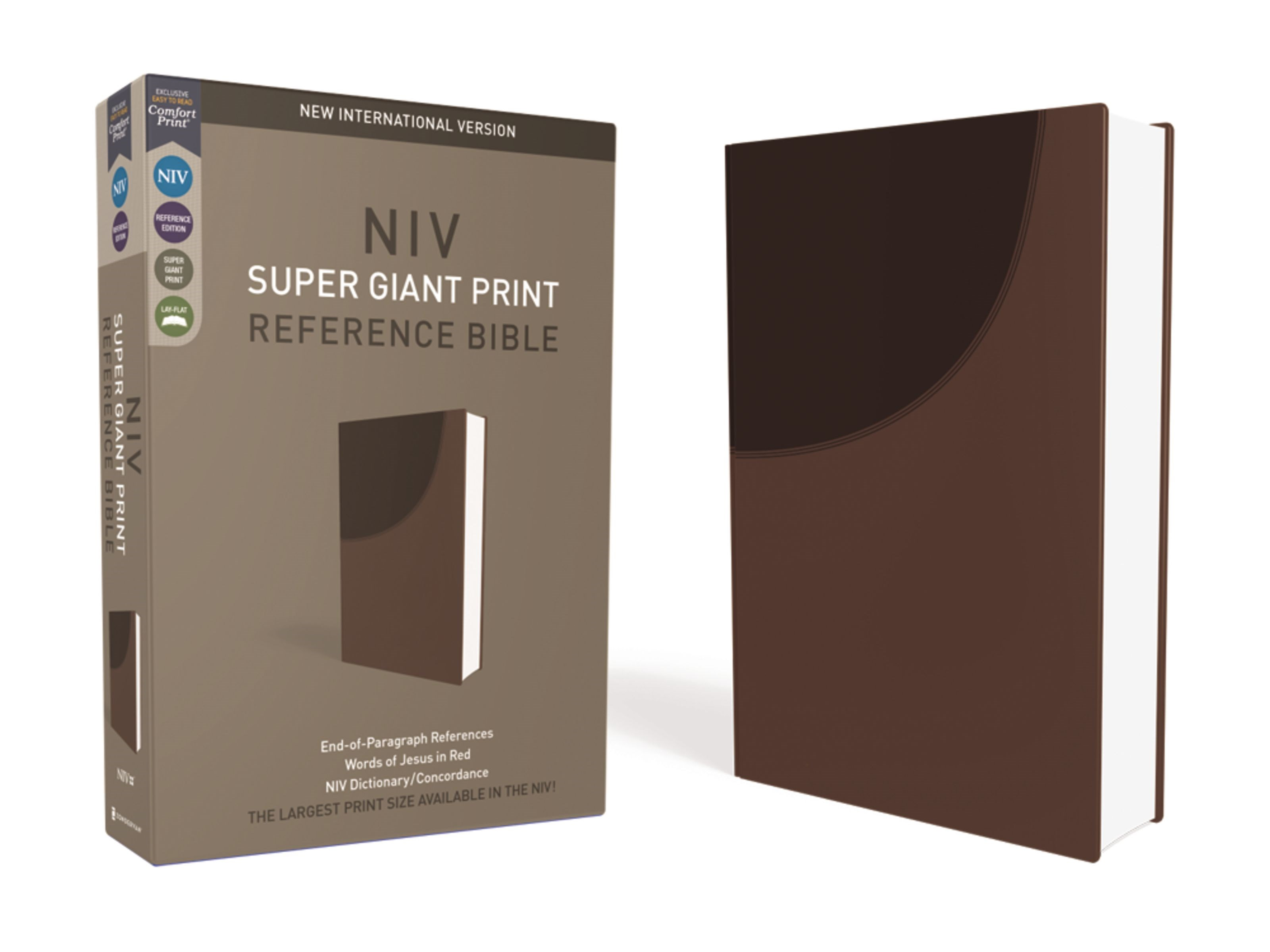 NIV Super Giant Print Reference Bible-Chocolate Leathersoft