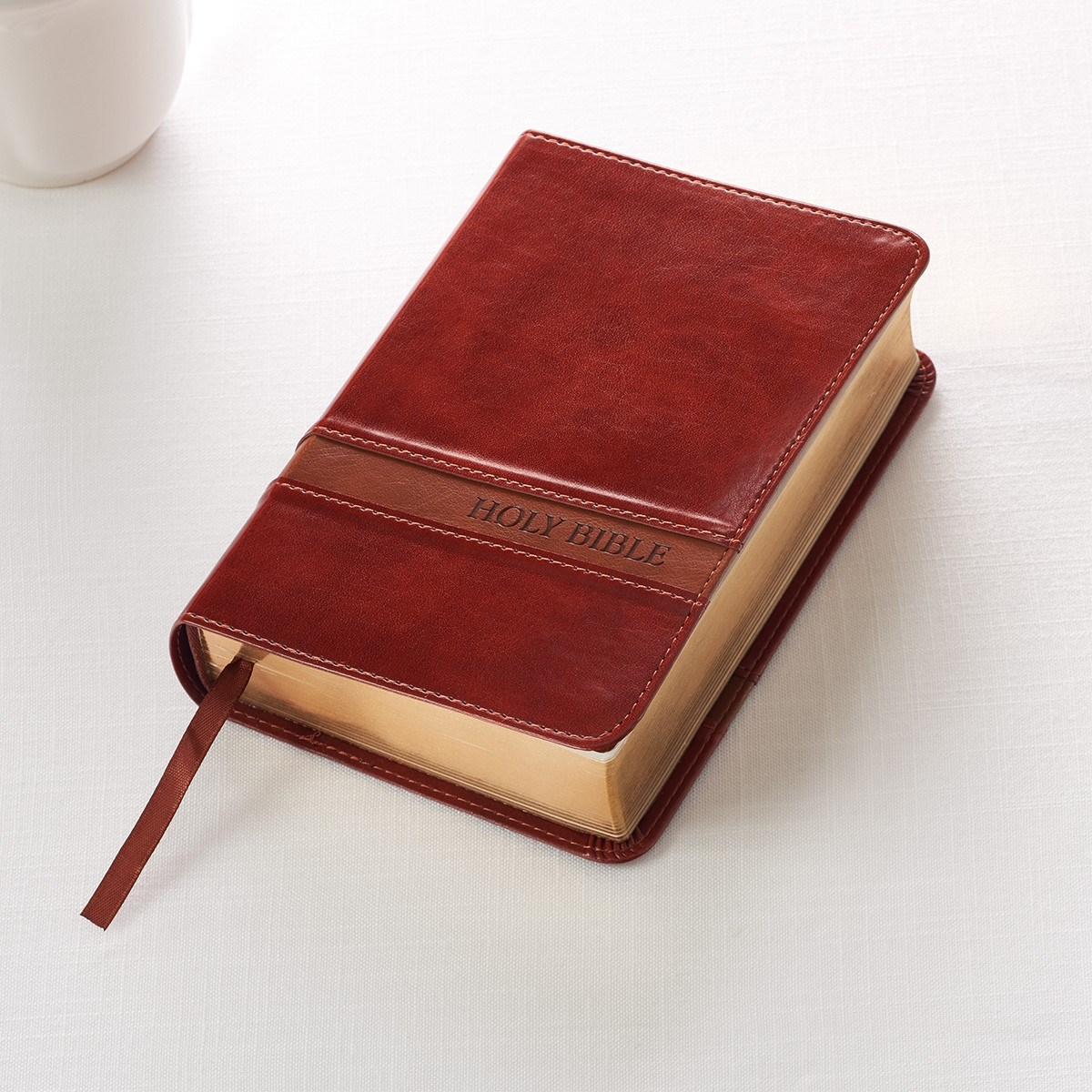 KJV Compact/Large Print Bible-Brown LuxLeather