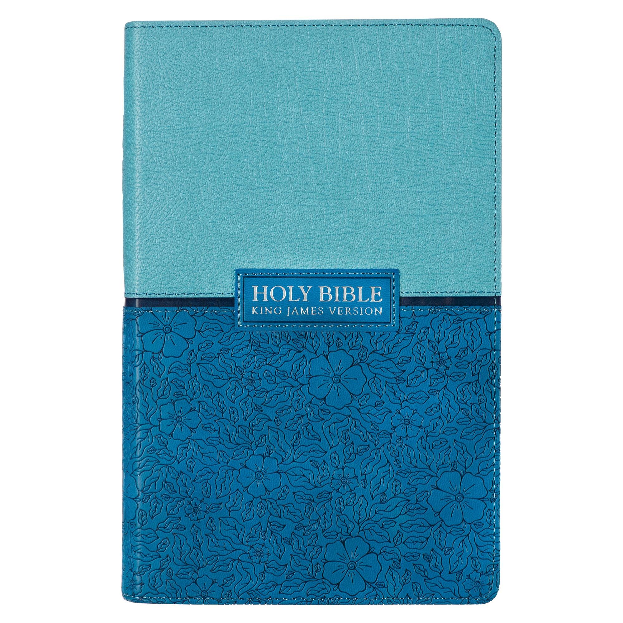 KJV Giant Print Bible-Blue/Teal LuxLeather