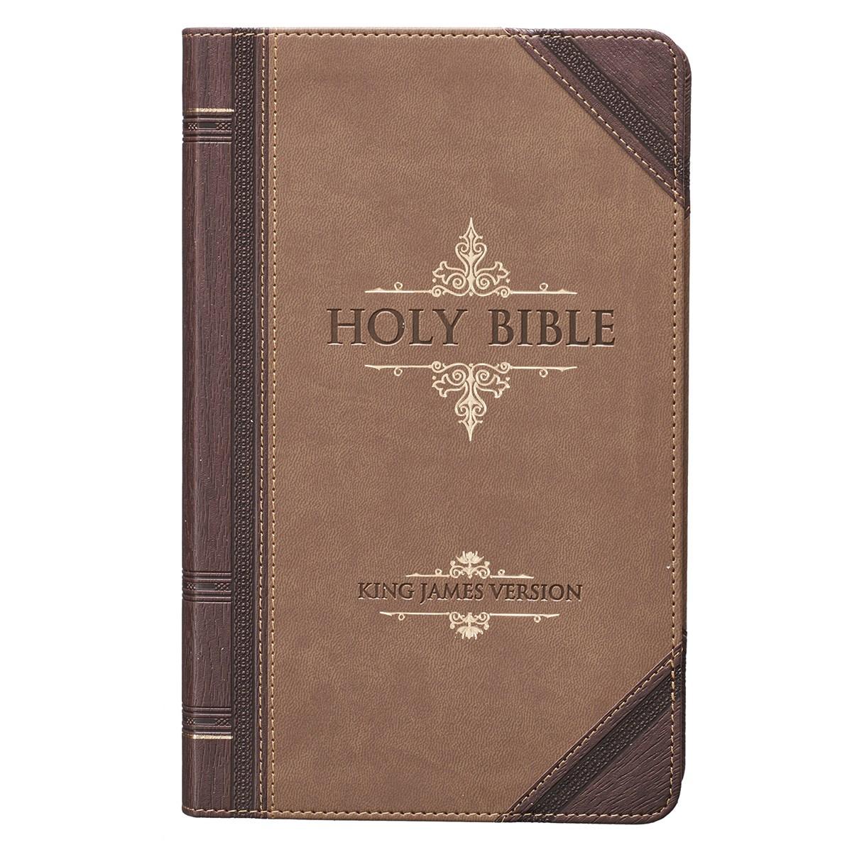 KJV Giant Print Bible-Dark Brown/Tan Portfolio LuxLeather