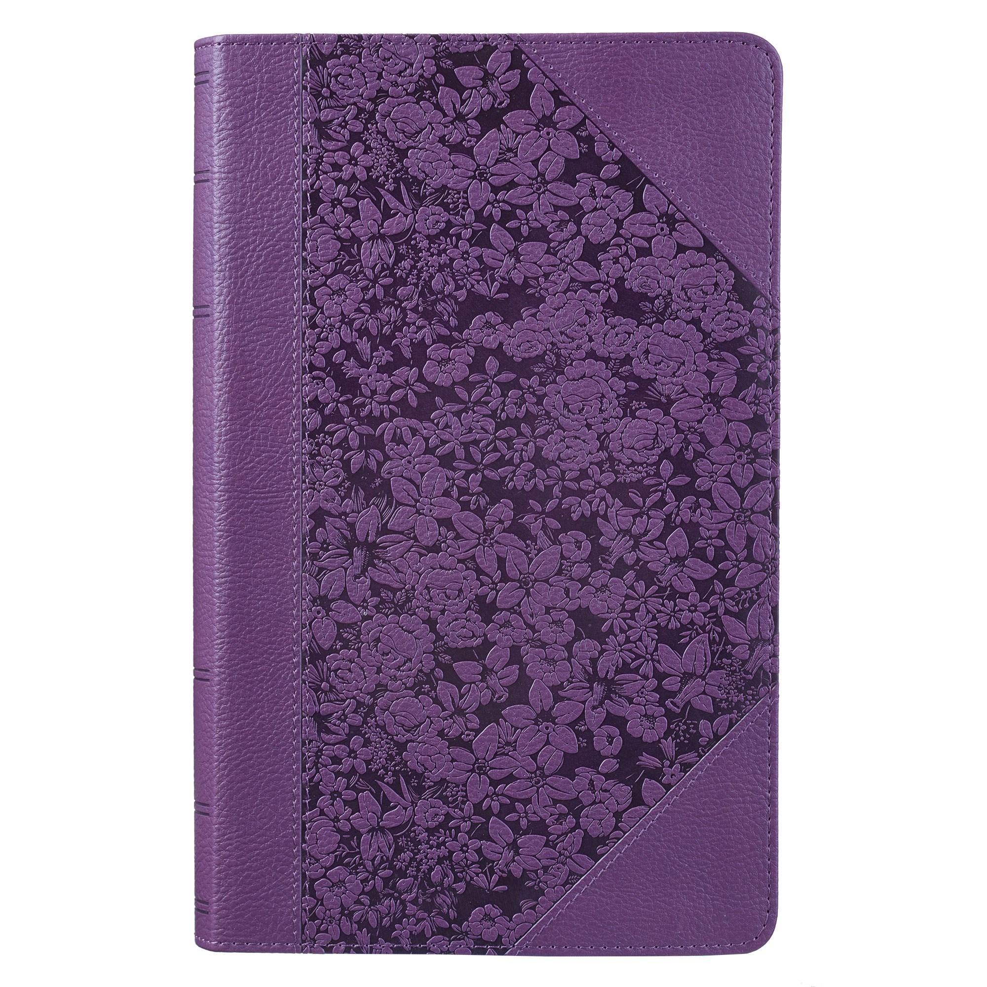 KJV Giant Print Bible-Purple Floral Portfolio LuxLeather