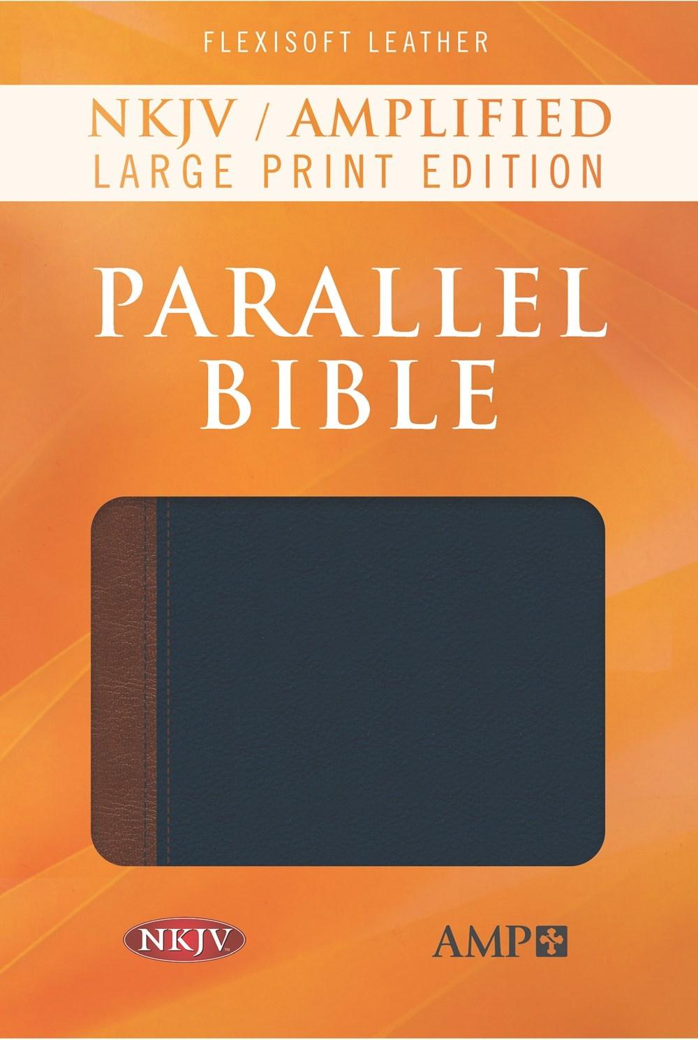 NKJV/Amplified Parallel Bible/Large Print-Blue/Brown Flexisoft Leather
