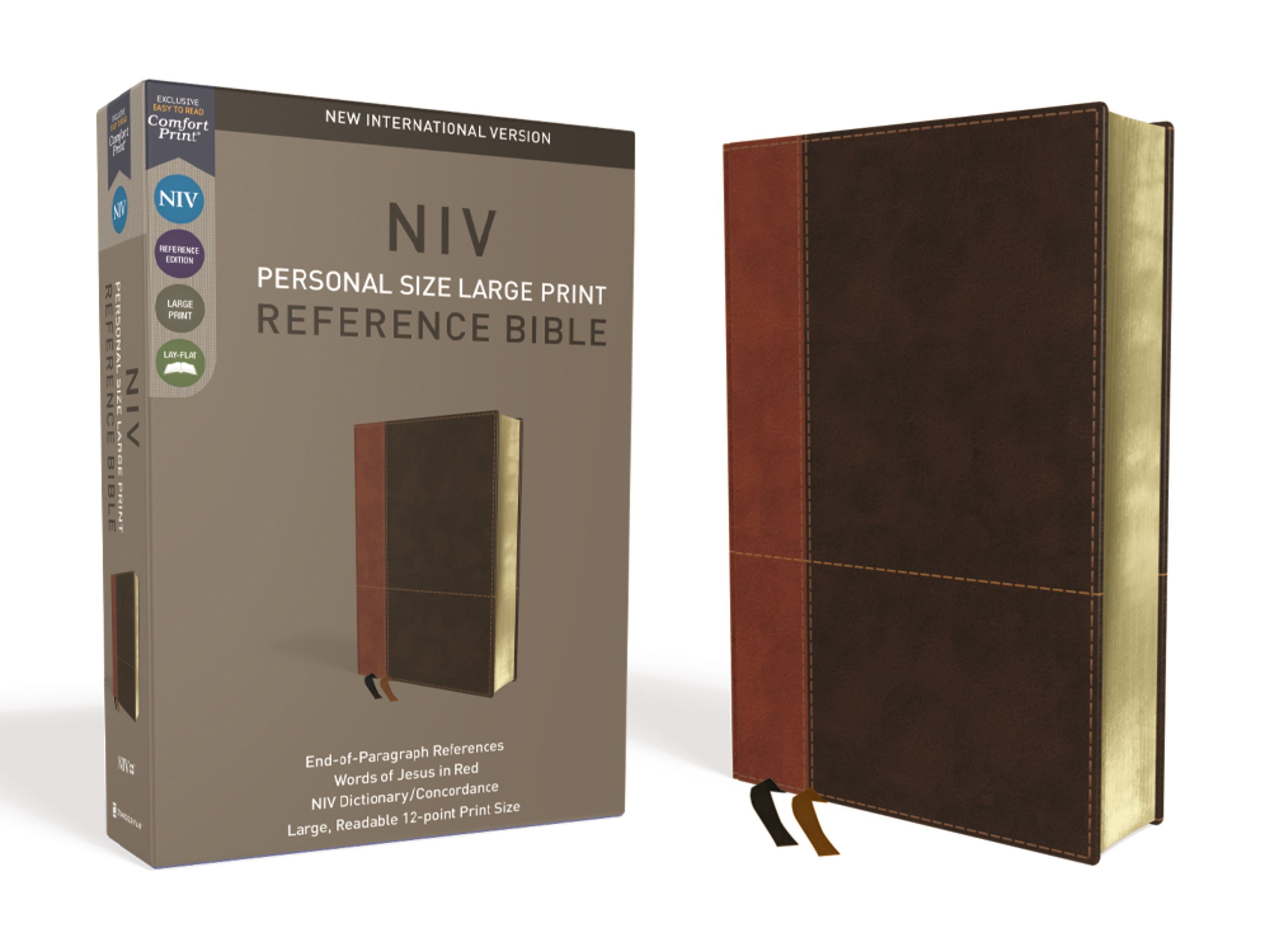 NIV Personal Size Large Print Reference Bible (Comfort Print)-Tan/Brown LeatherSoft