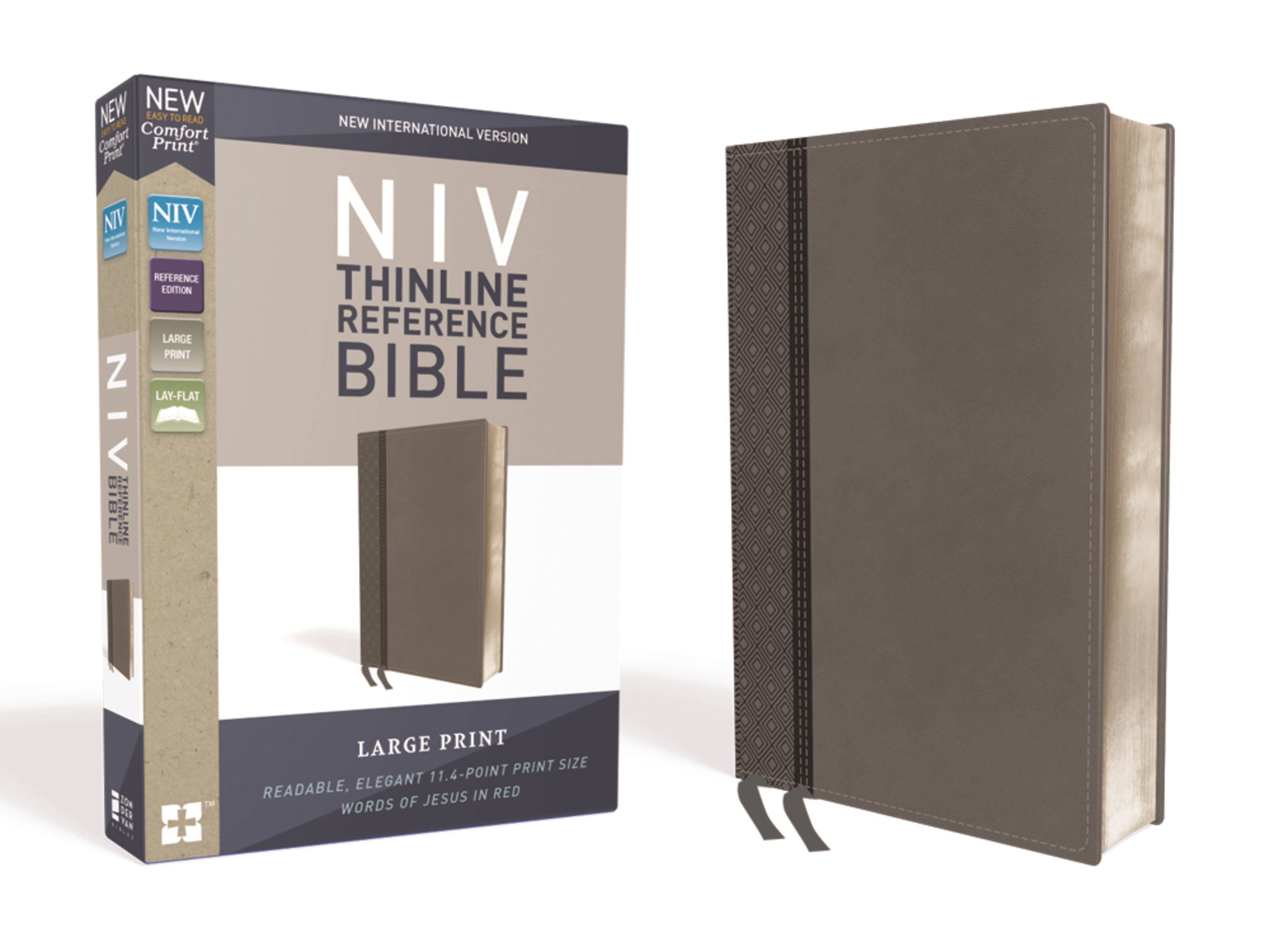 NIV Thinline Reference Bible/Large Print (Comfort Print)-Charcoal LeatherSoft