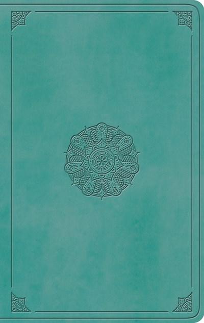 ESV Large Print Value Thinline Bible-Turquoise Emblem Design TruTone