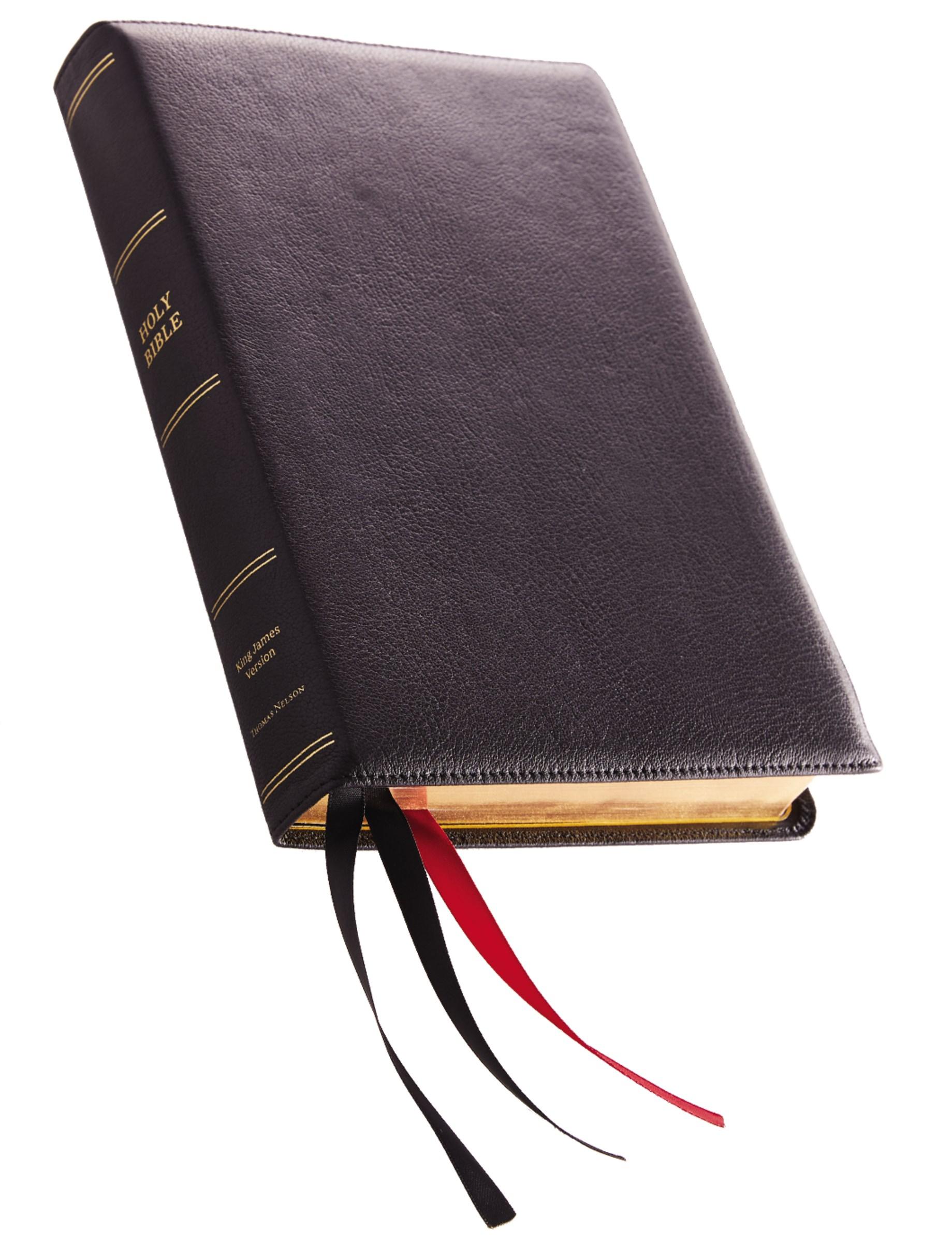 KJV Giant Print Reference Bible (Comfort Print)-Black Premium Leather