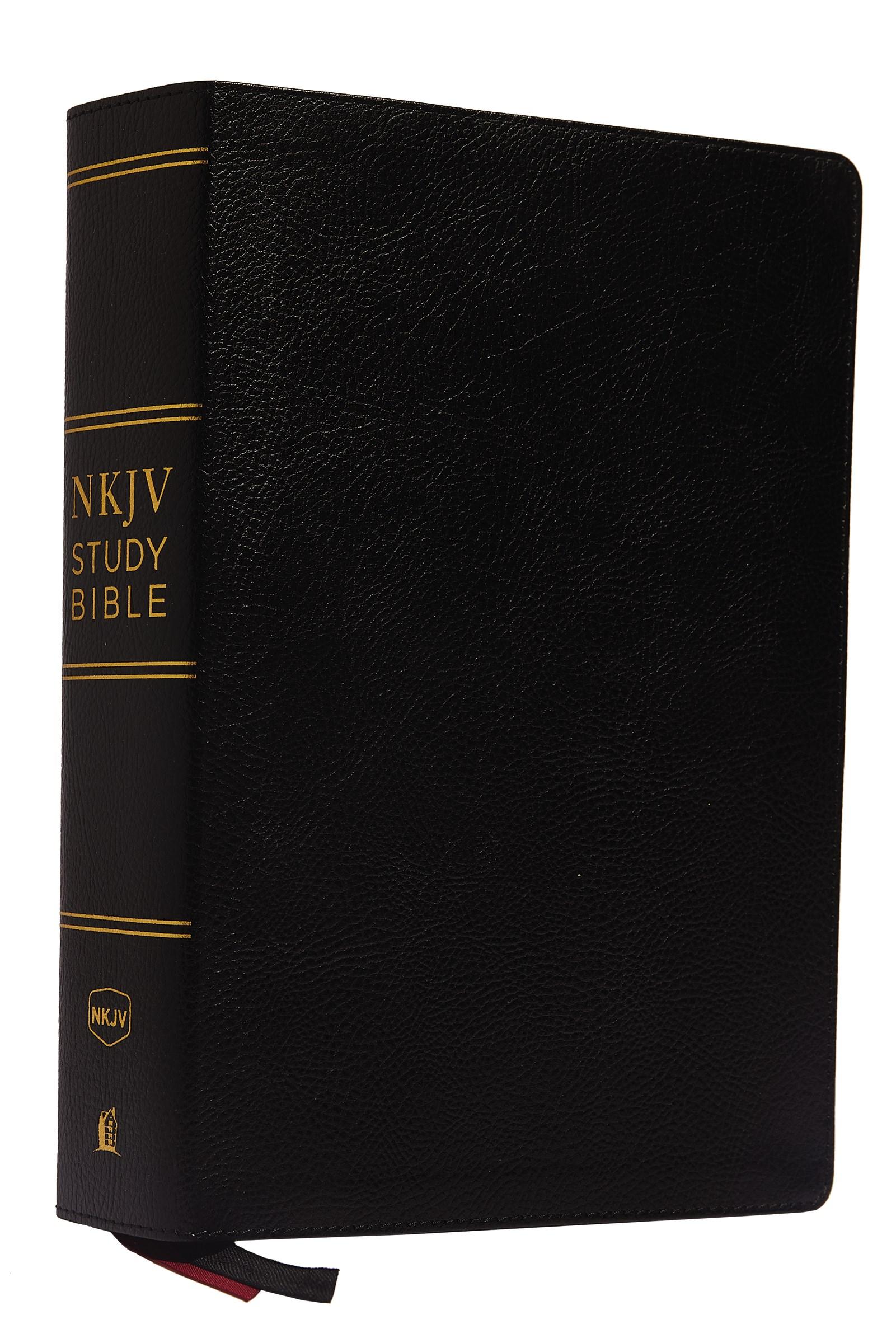 NKJV Study Bible (Comfort Print)-Black Premium Bonded Leather
