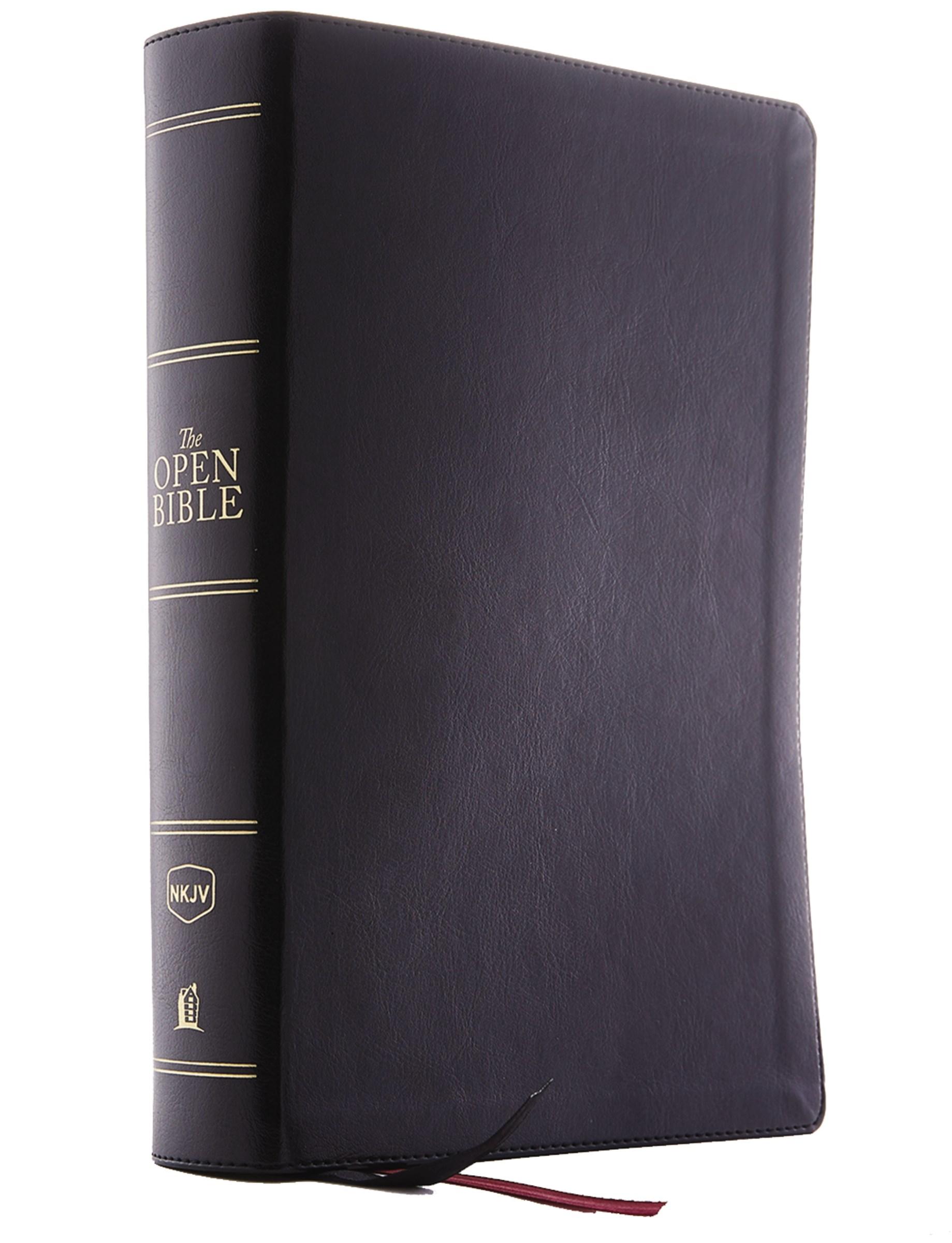 NKJV Open Bible (Comfort Print)-Black Leathersoft