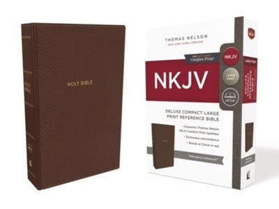 NKJV Deluxe Compact Large Print Reference Bible (Comfort Print)-Mahogany Leathersoft