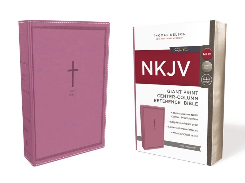 NKJV Giant Print Center-Column Reference Bible (Comfort Print)-Pink Leathersoft