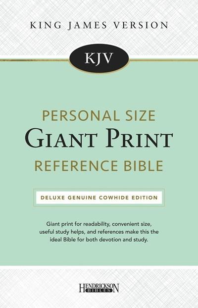 KJV Personal Size Giant Print Reference Bible-Black Genuine Cowhide Split Leather