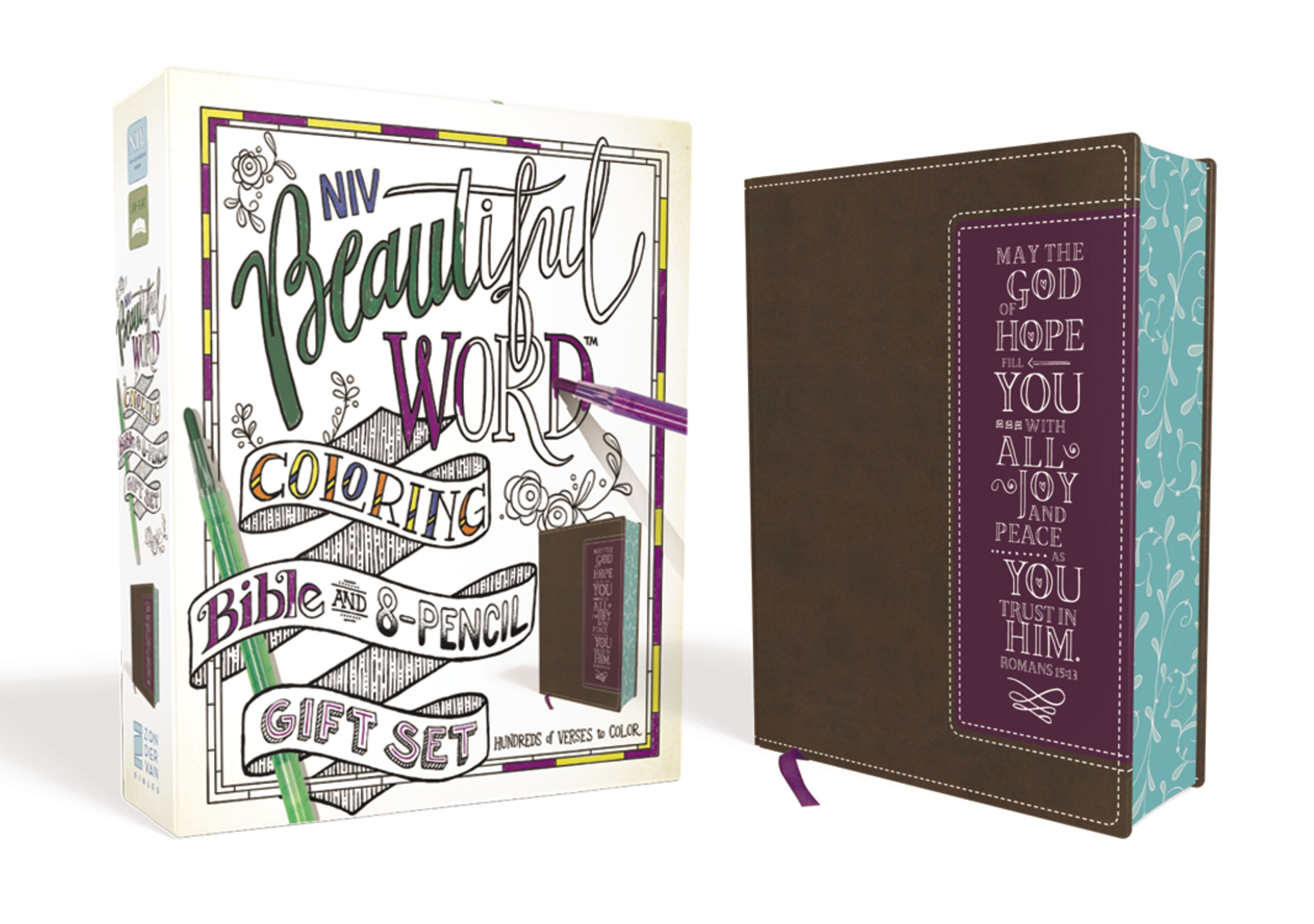 NIV Beautiful Word Coloring Bible And 8-Pencil Gift Set-Brown/Purple Leathersoft