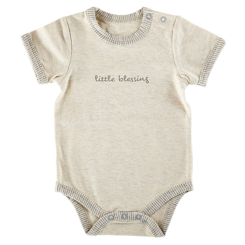 Baby-Snapshirt-Cream/Grey-Little Blessing (0-3 Months)
