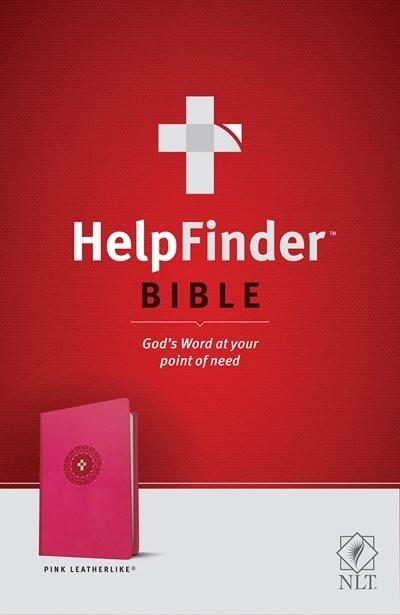 NLT Helpfinder Bible-Pink LeatherLike