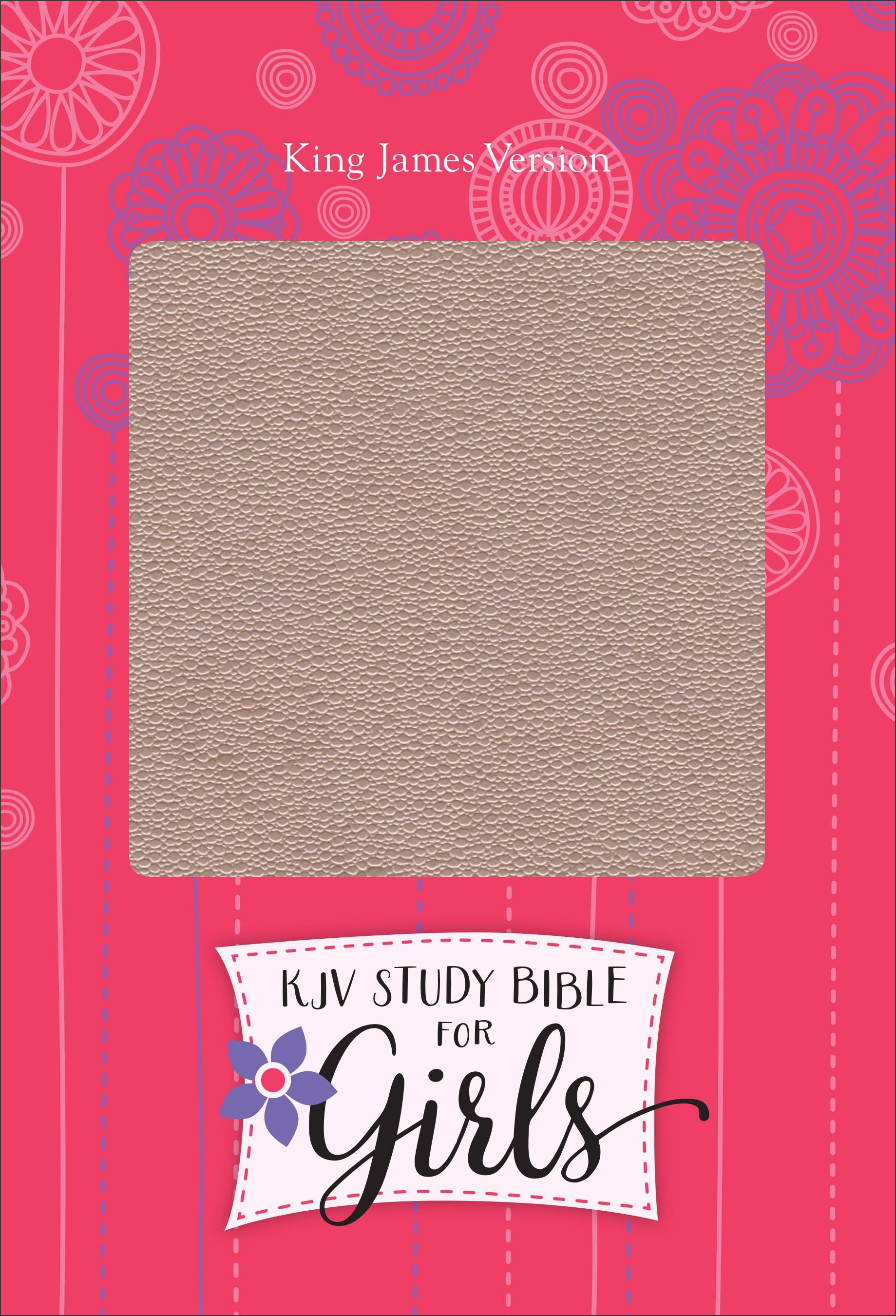 KJV Study Bible For Girls-Pink Pearl/Gray-Vine Design LeatherTouch