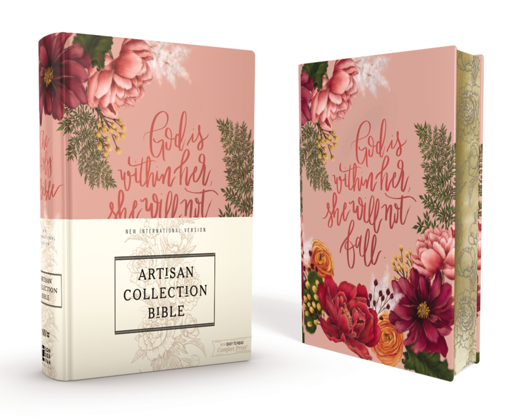 NIV Artisan Collection Bible (Comfort Print)-Pink Floral Cloth Over Board