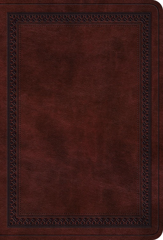 ESV Value Large Print Compact Bible-Mahogany Border Design TruTone
