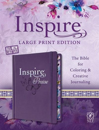 NLT Inspire Praise Bible/Large Print-Purple Hardcover