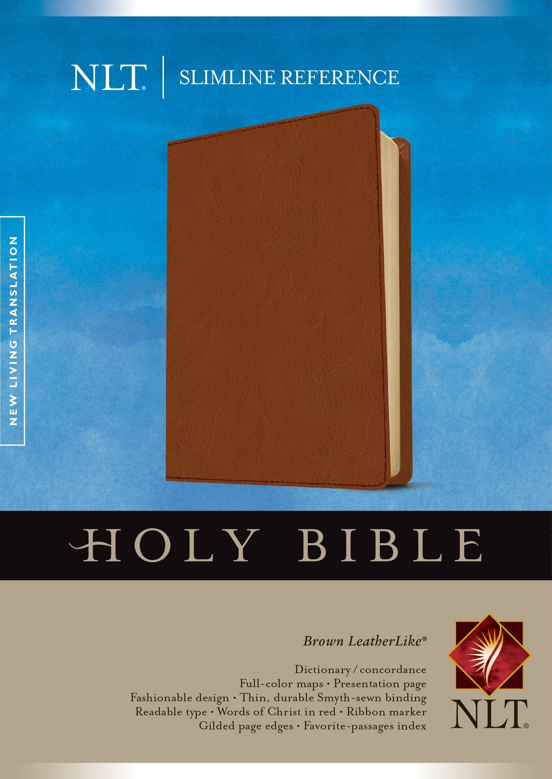 NLT Slimline Reference Bible-Brown LeatherLike