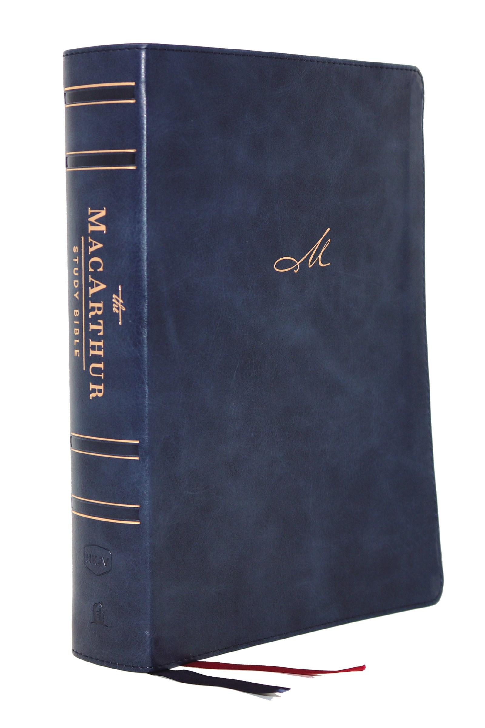 NKJV MacArthur Study Bible (2nd Edition) (Comfort Print)-Navy Blue Leathersoft