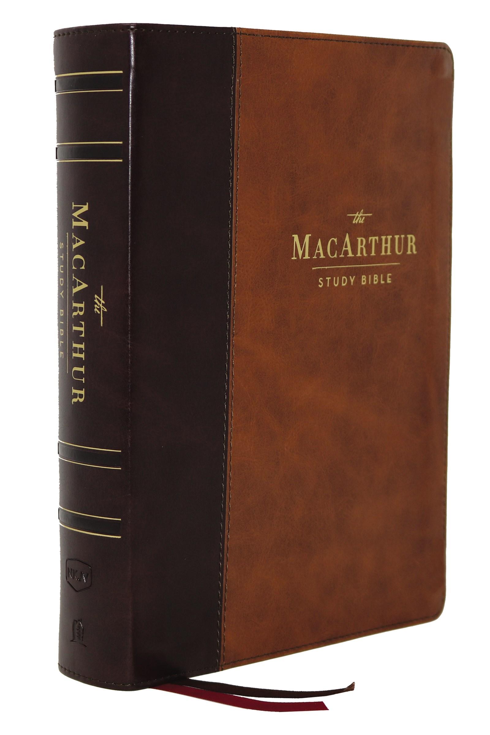 NKJV MacArthur Study Bible (2nd Edition) (Comfort Print)-Brown Leathersoft