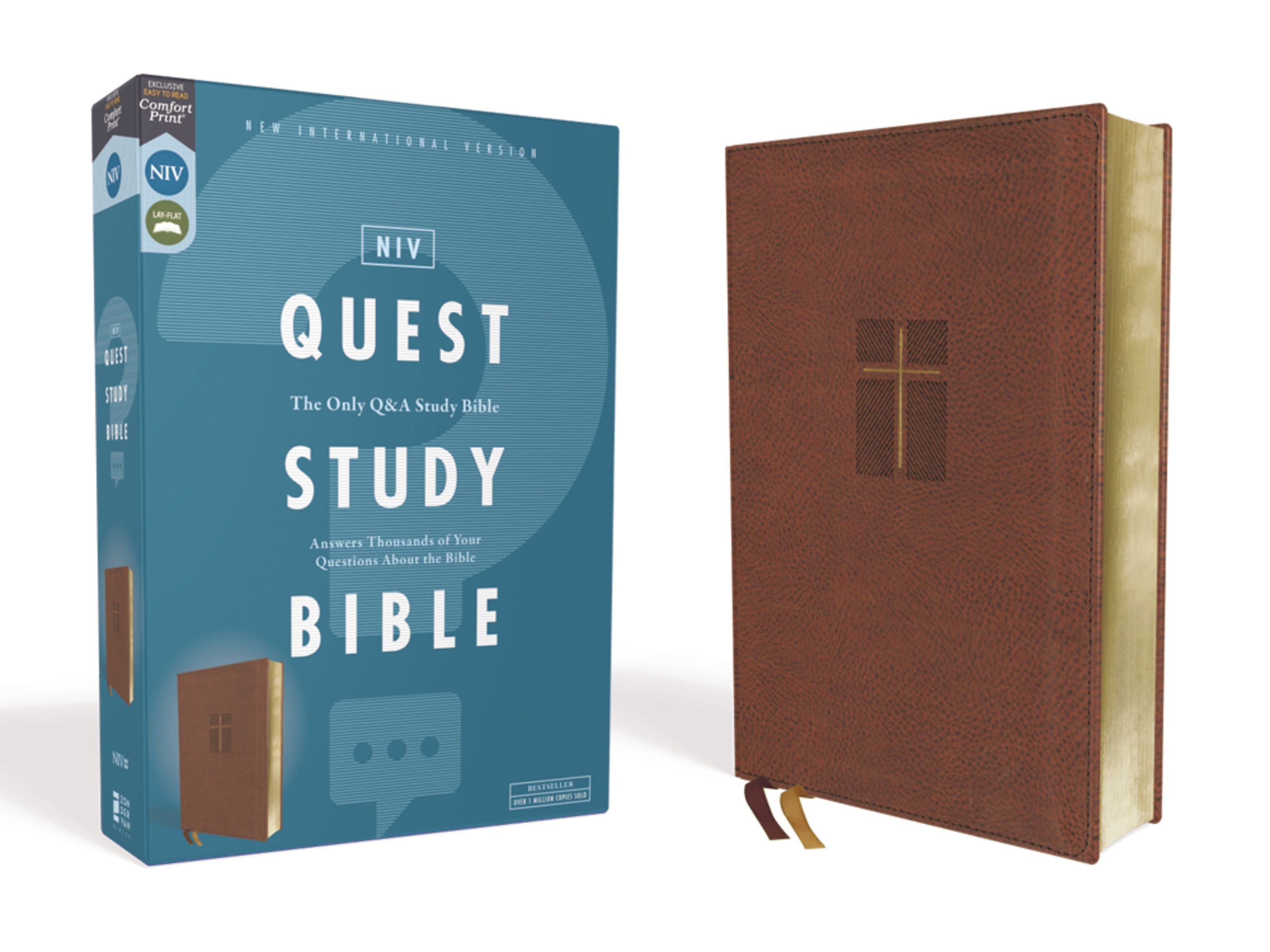 NIV Quest Study Bible (Comfort Print)-Brown Leathersoft