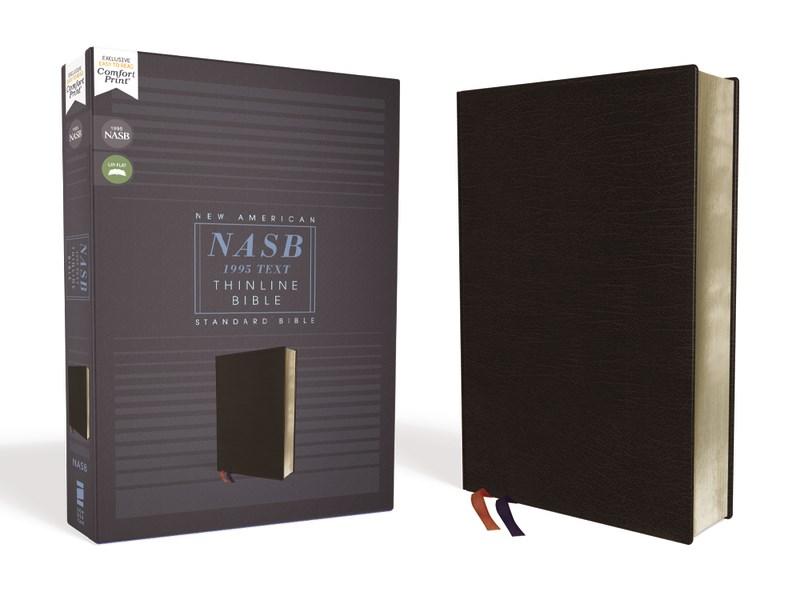 NASB Thinline Bible (Comfort Print)-Black Bonded Leather