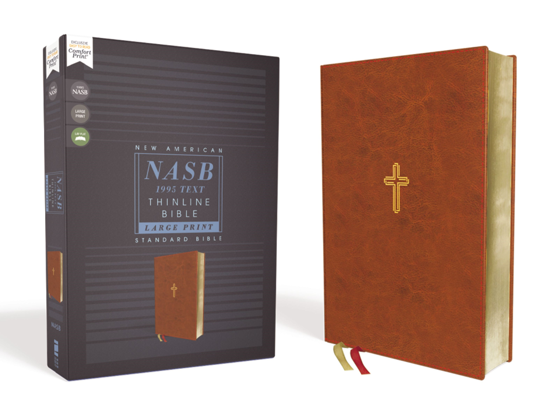 NASB Thinline Bible/Large Print (Comfort Print)-Brown Leathersoft