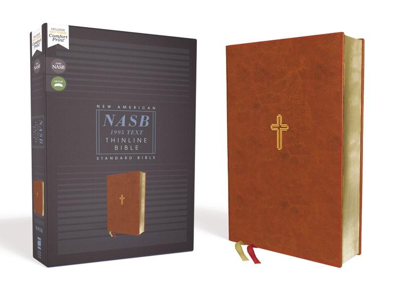 NASB Thinline Bible (Comfort Print)-Brown Leathersoft