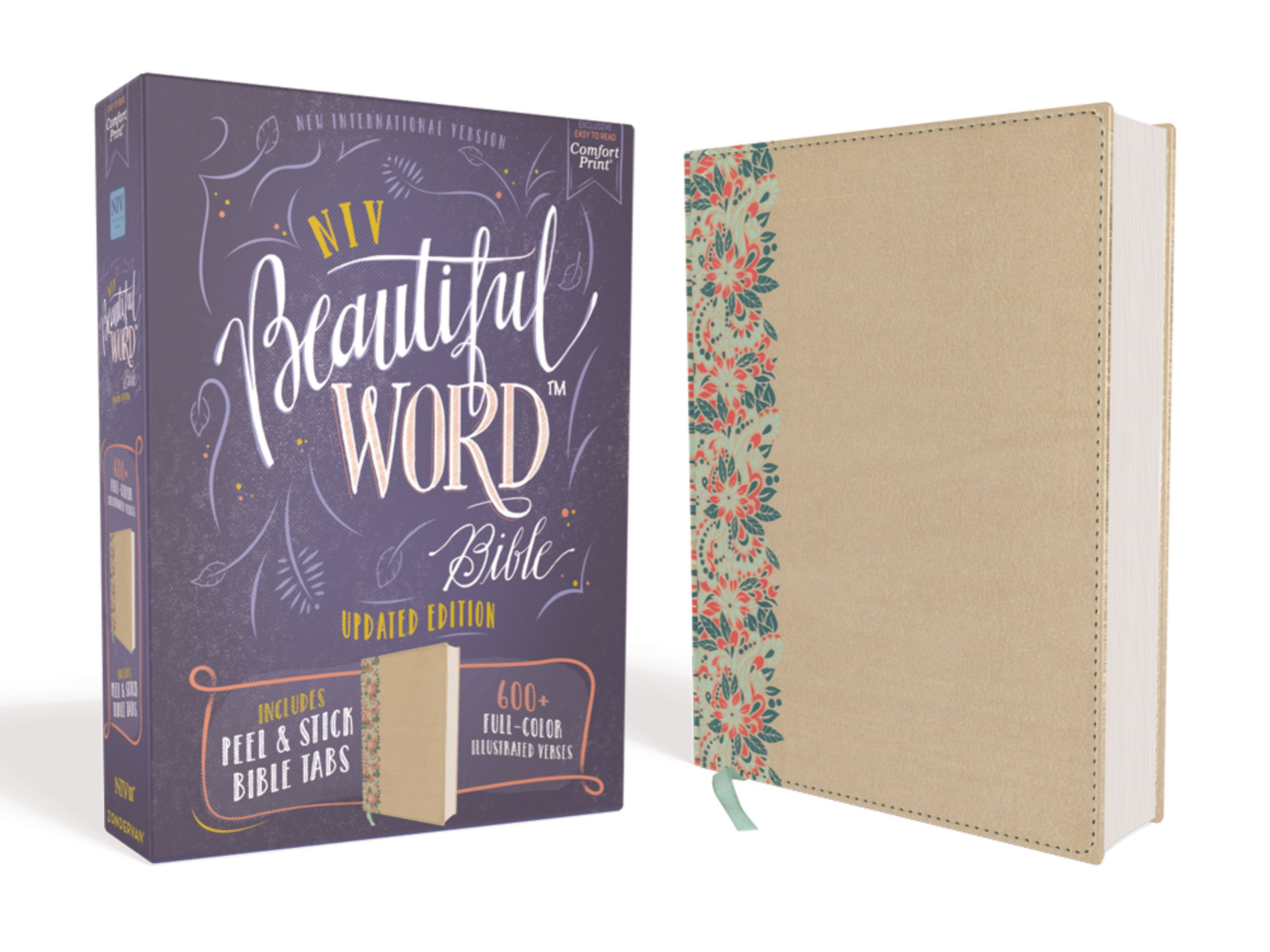 NIV Beautiful Word Bible (Updated Edition)-Gold/Floral Leathersoft