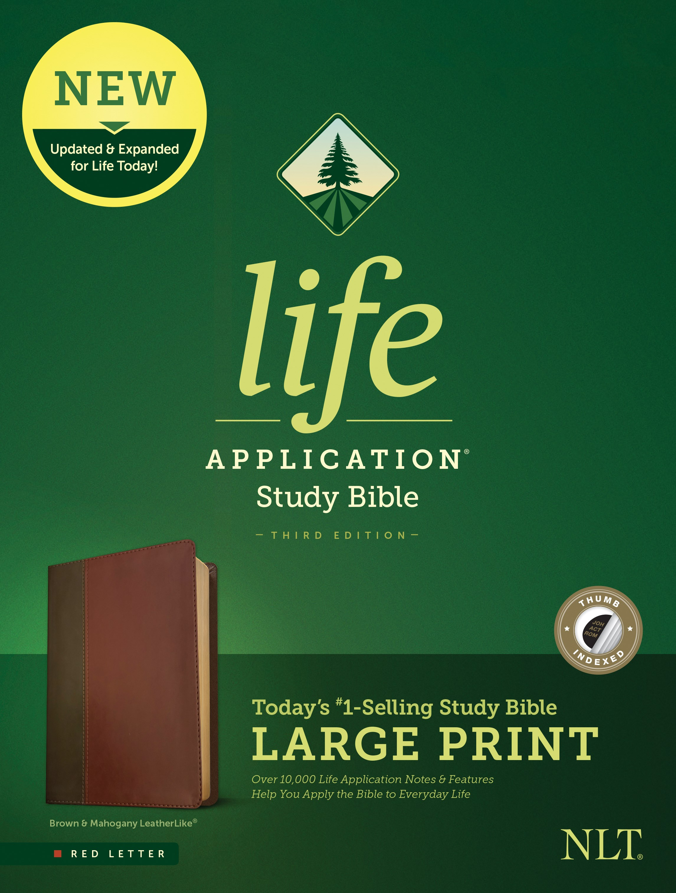 NLT Life Application Study Bible/Large Print (Third Edition) (RL)-Brown/Tan LeatherLike Indexed