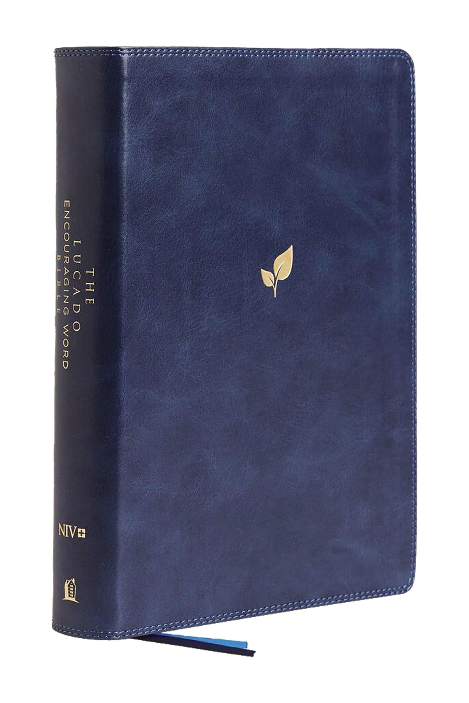 NIV Lucado Encouraging Word Bible (Comfort Print)-Blue Leathersoft