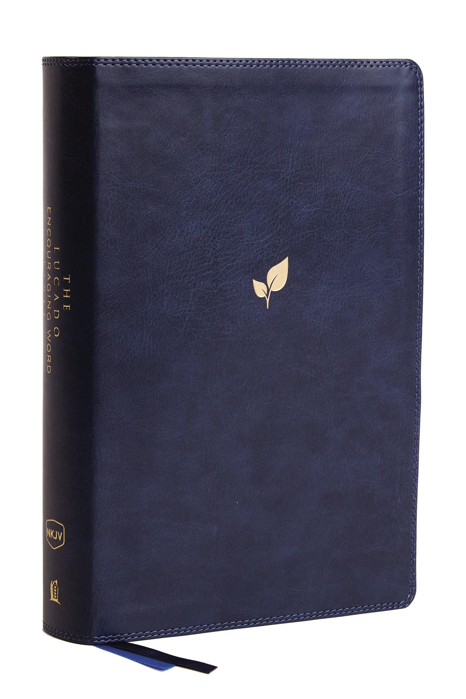 NKJV Lucado Encouraging Word Bible (Comfort Print)-Blue Leathersoft