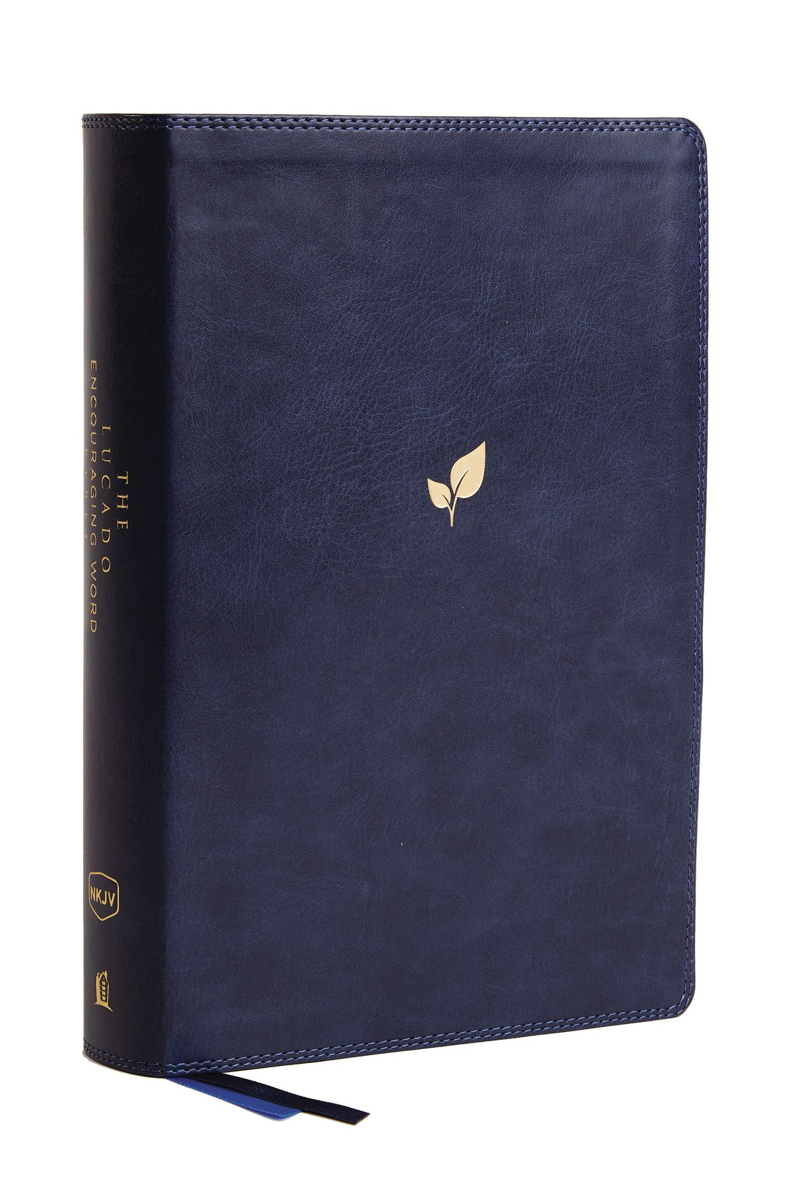 NKJV Lucado Encouraging Word Bible (Comfort Print)-Blue Leathersoft Indexed