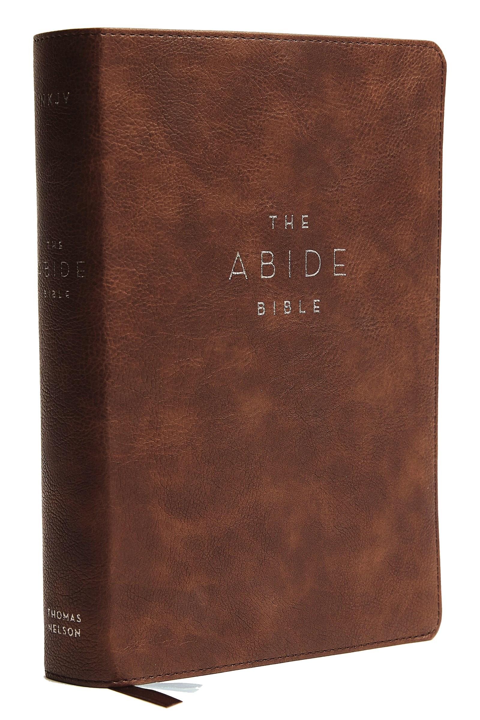 NKJV Abide Bible (Comfort Print)-Brown Leathersoft